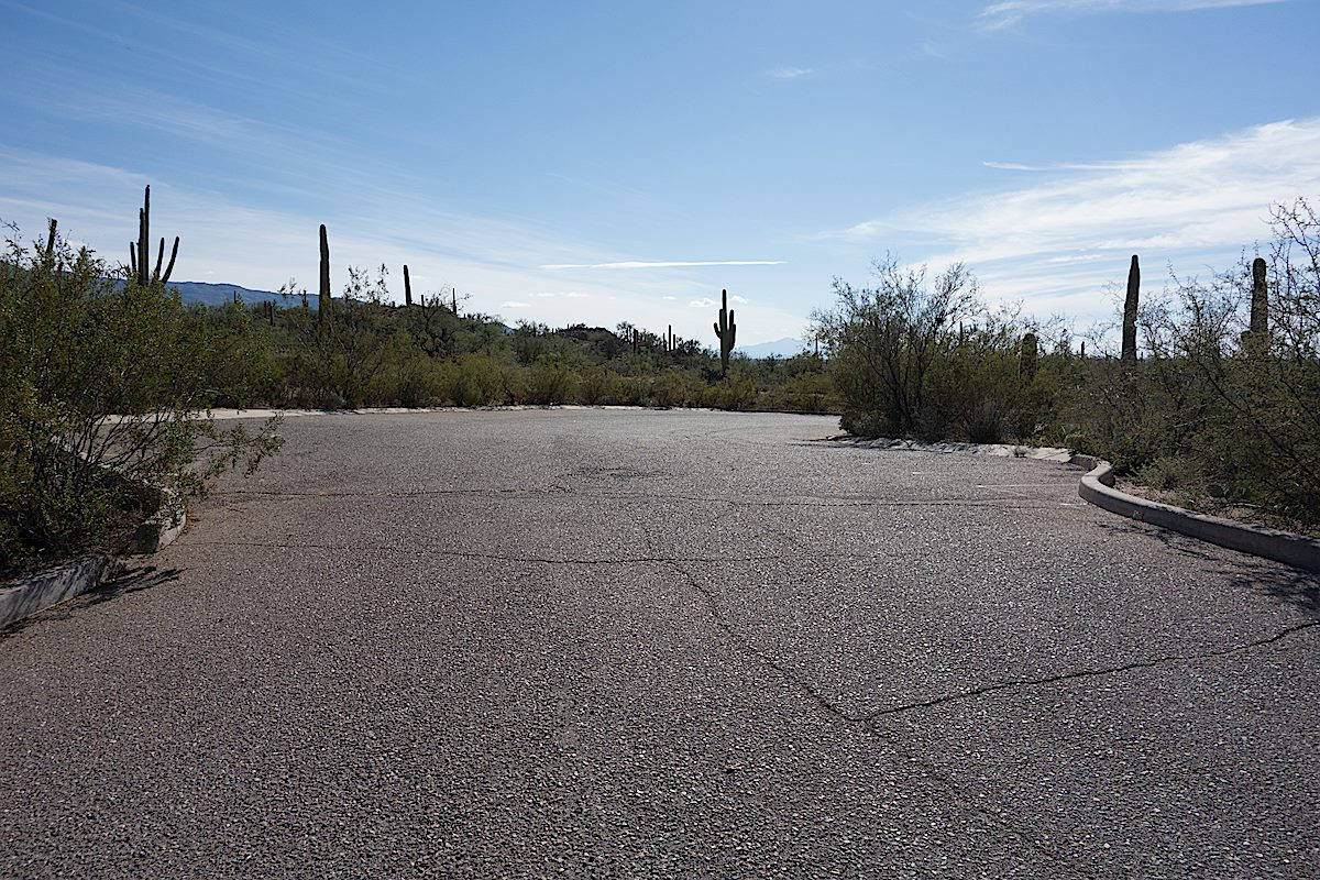 Paved parking at the Agua Caliente Hill South Trailhead. December 2014.