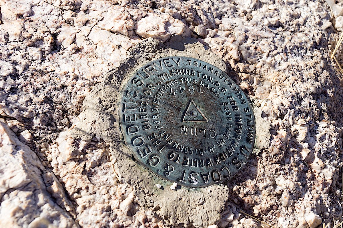 Agua Caliente Hill Survey Marker. December 2013.