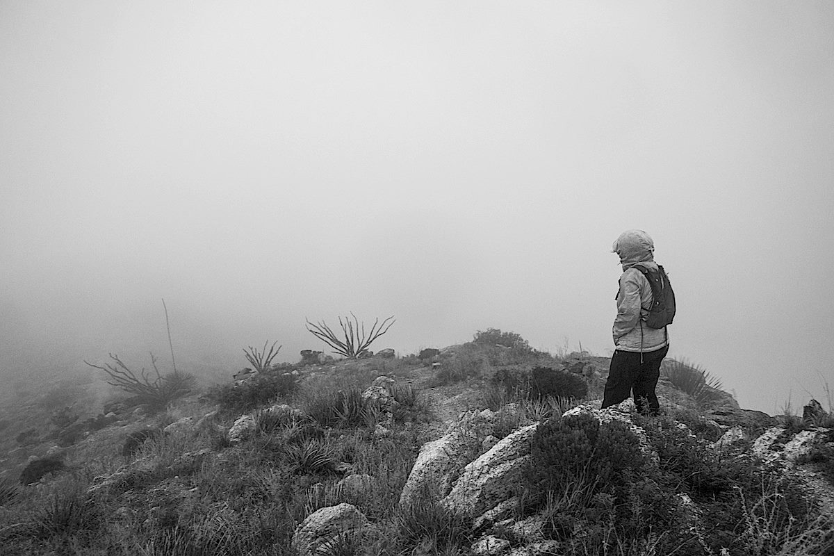 Coming down thru the clouds - unusual weather on the Babad Do'ag Trail. August 2013