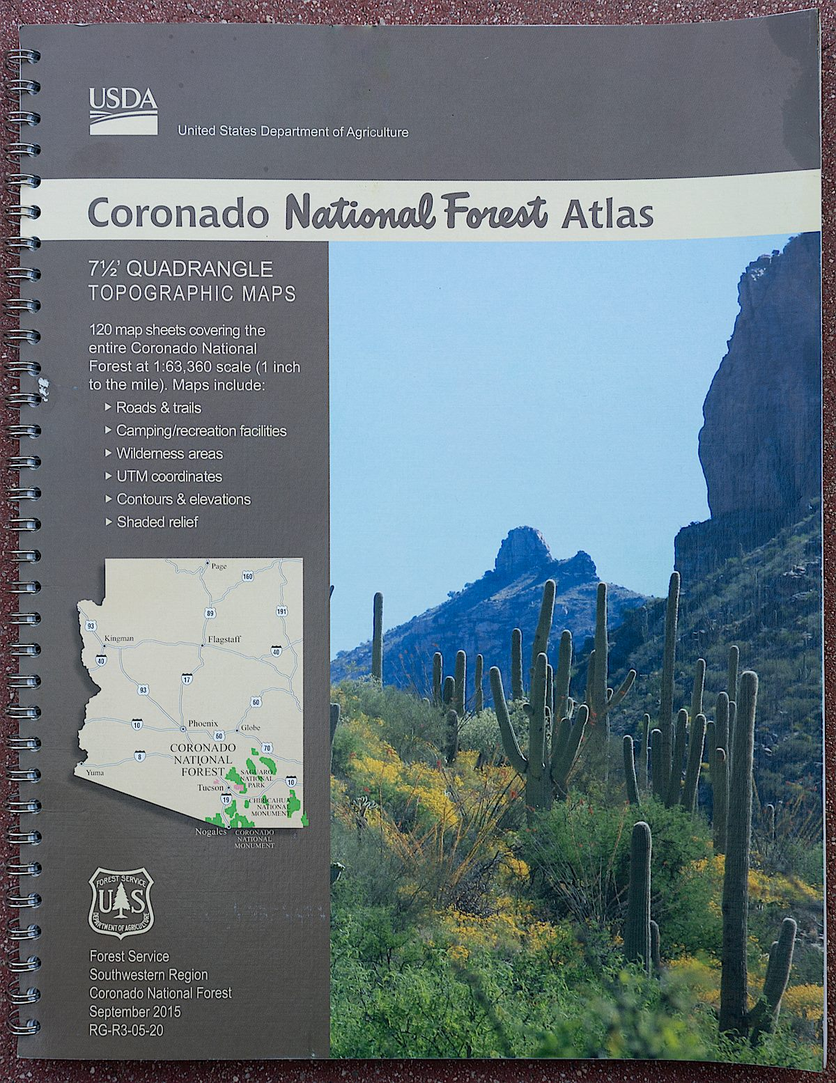 Coronado National Forest Atlas - spiral bound topo maps for the Coronado National Forest including the Santa Catalina Mountains. August 2016.