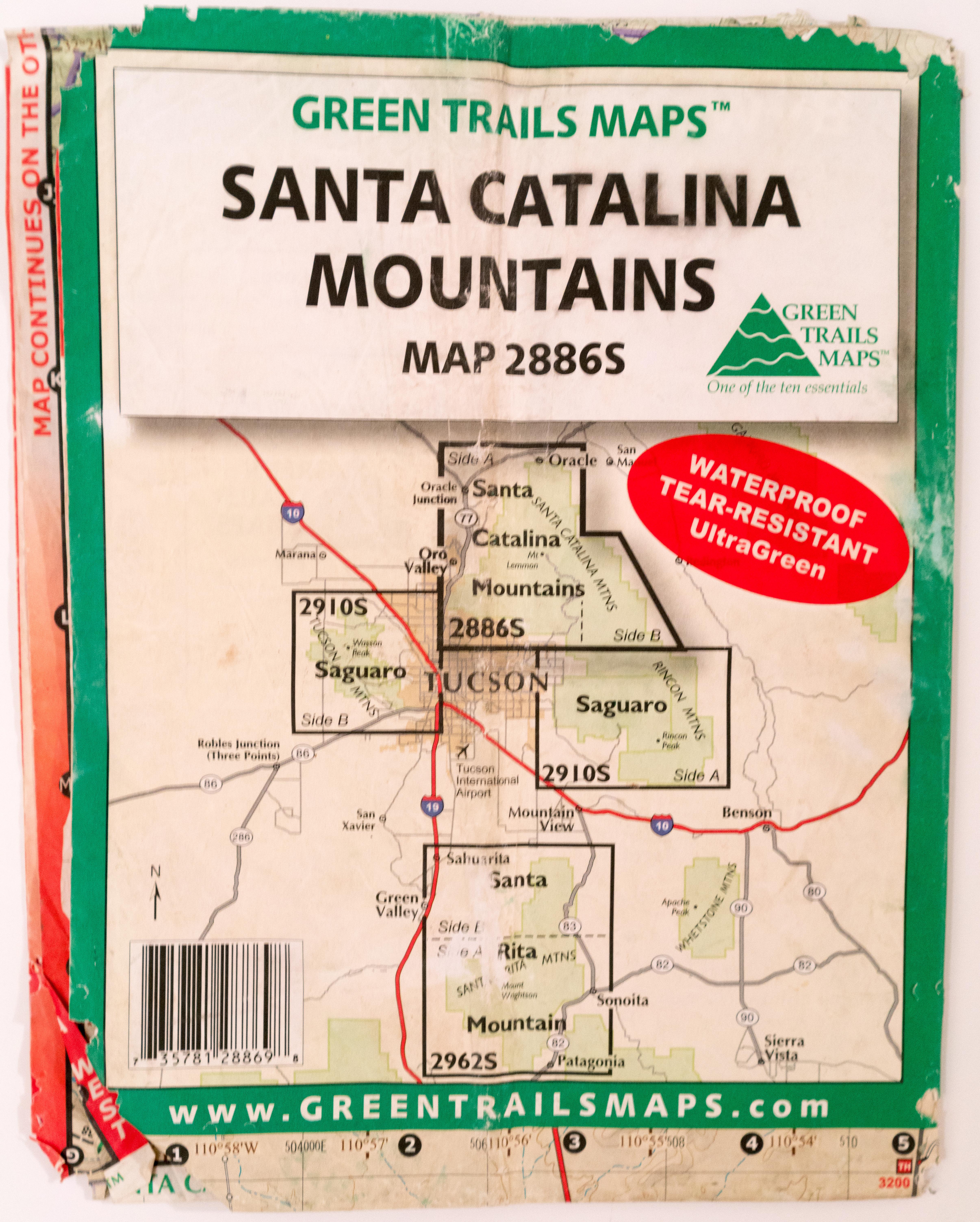 Green Trails Santa Catalina Mountains Map Hike Lemmon