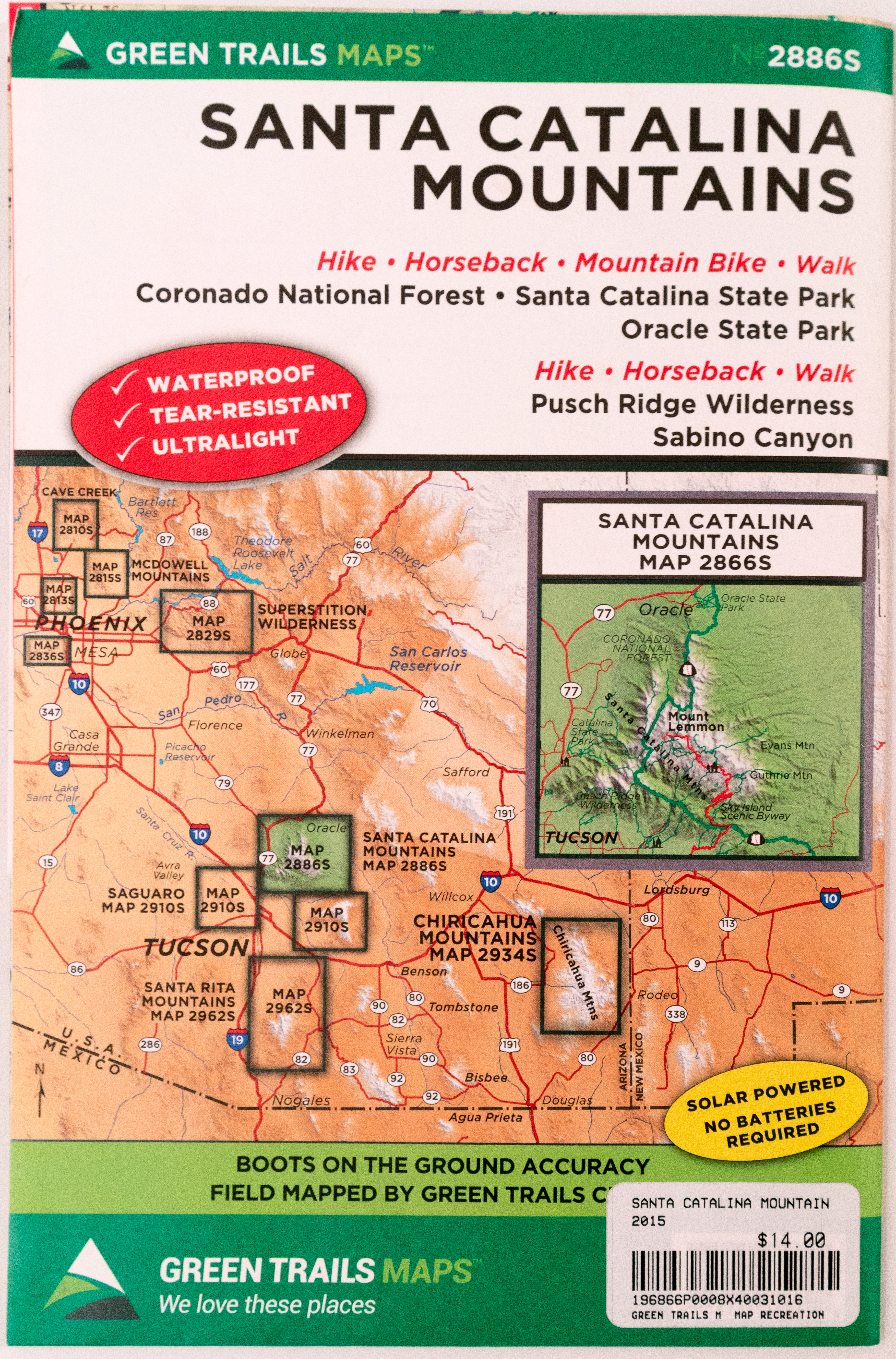 Picture of: Green Trails Santa Catalina Mountains Map Hike Lemmon
