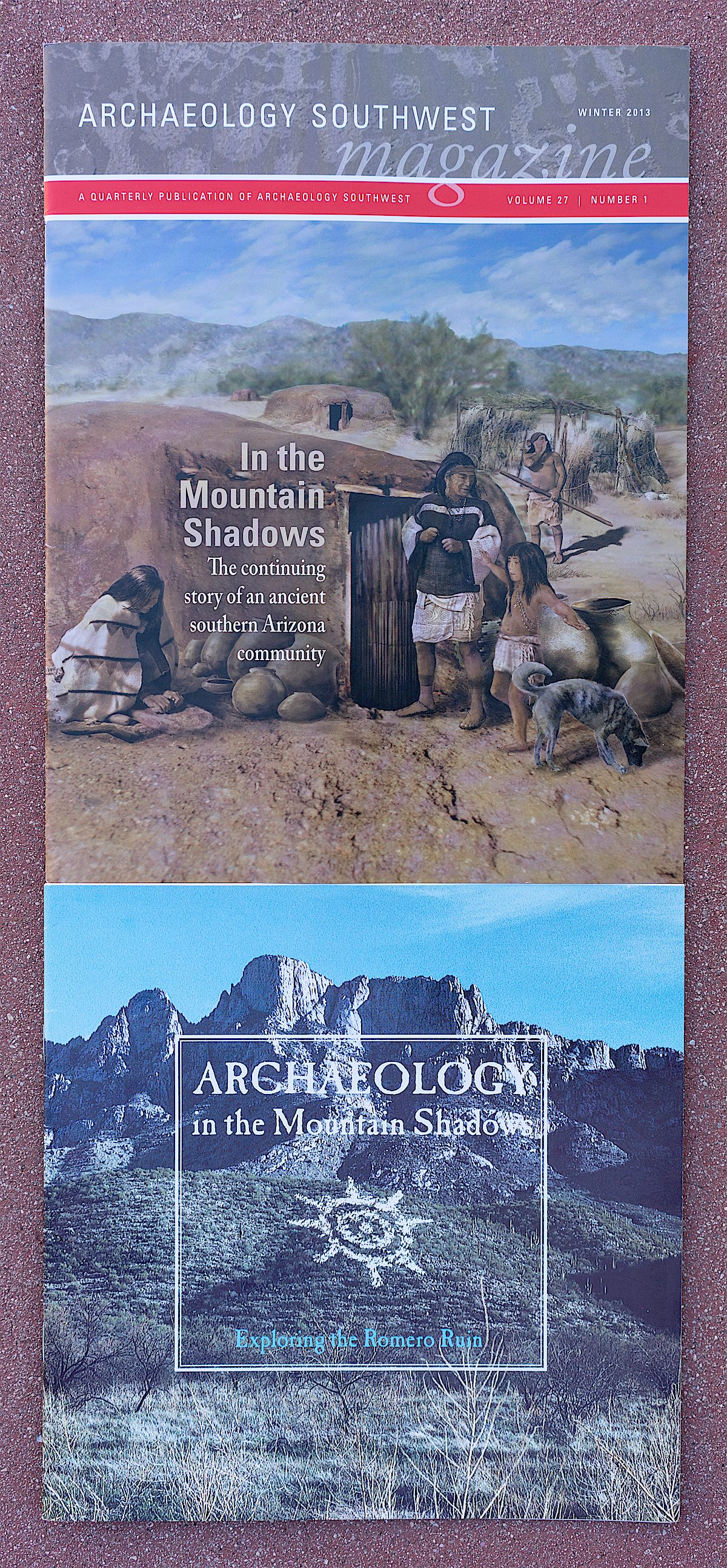 Top: Archaeology Southwest Magazine, Volume 27 Number 1, Winter 2013. Bottom: Archaeology in the Mountain Shadows: Exploring the Romero Ruin, 1996.