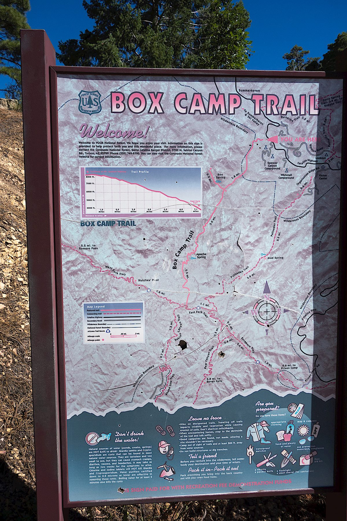 Trail Map sign at the Box Camp Trailhead. September 2014