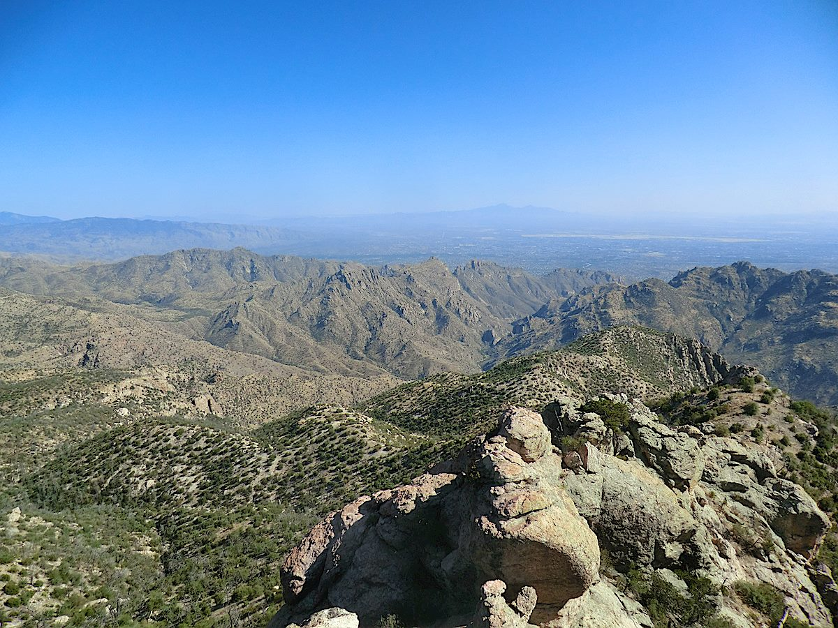 Looking toward lower Sabino Canyon and Tucson from Brinkley Point. May 2012