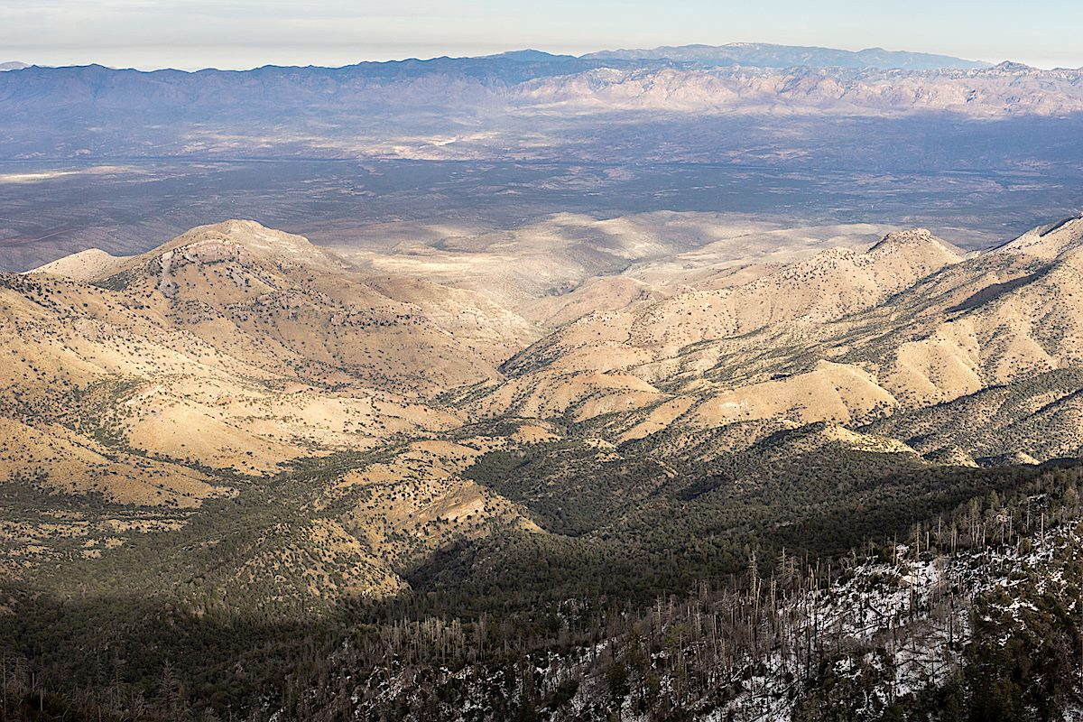 Looking down on Peck Basin and Davis Mesa from the Butterfly Trail. December 2014
