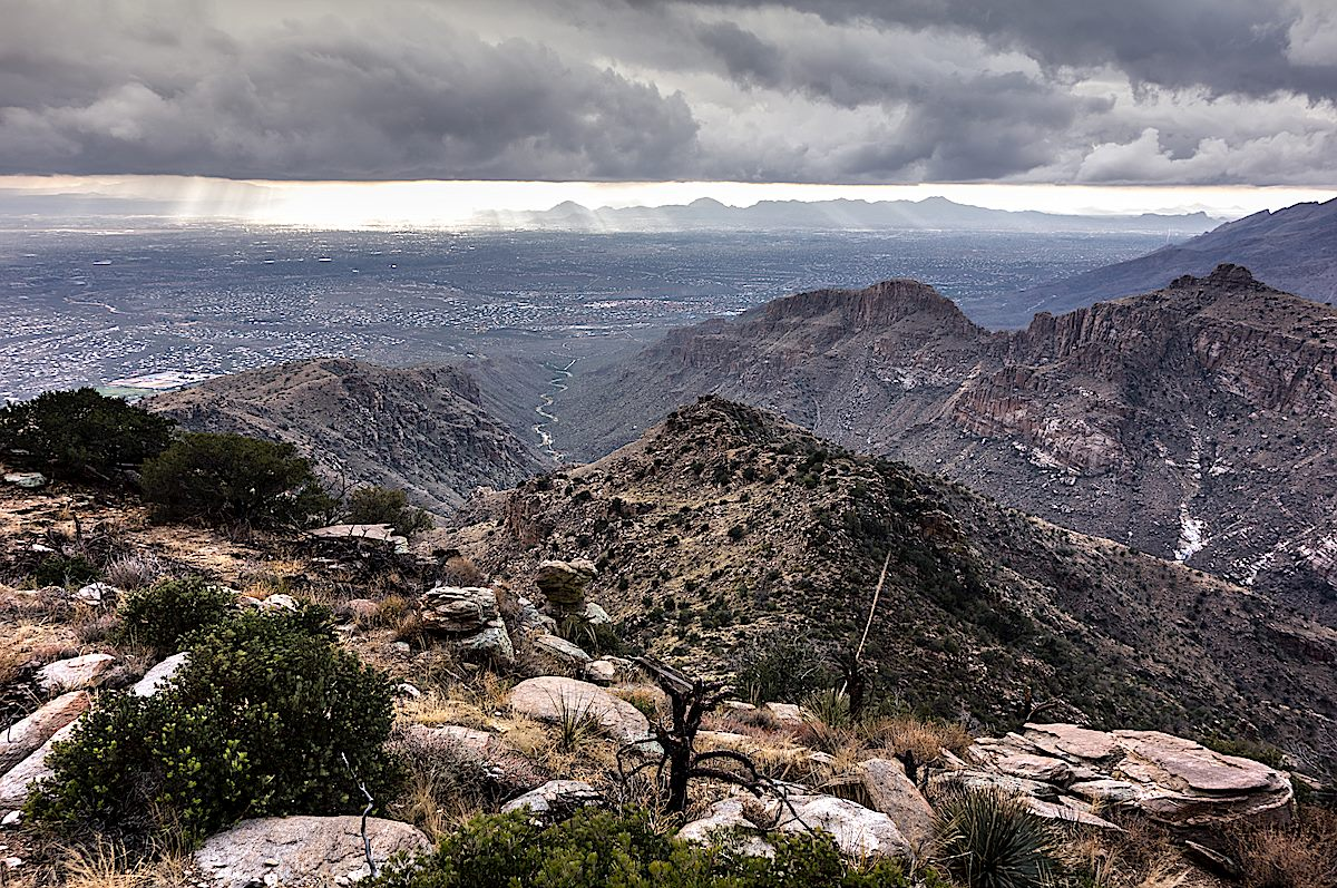Looking down Bear Canyon into Tucson from the South Summit of Gibbon Mountain. December 2013.