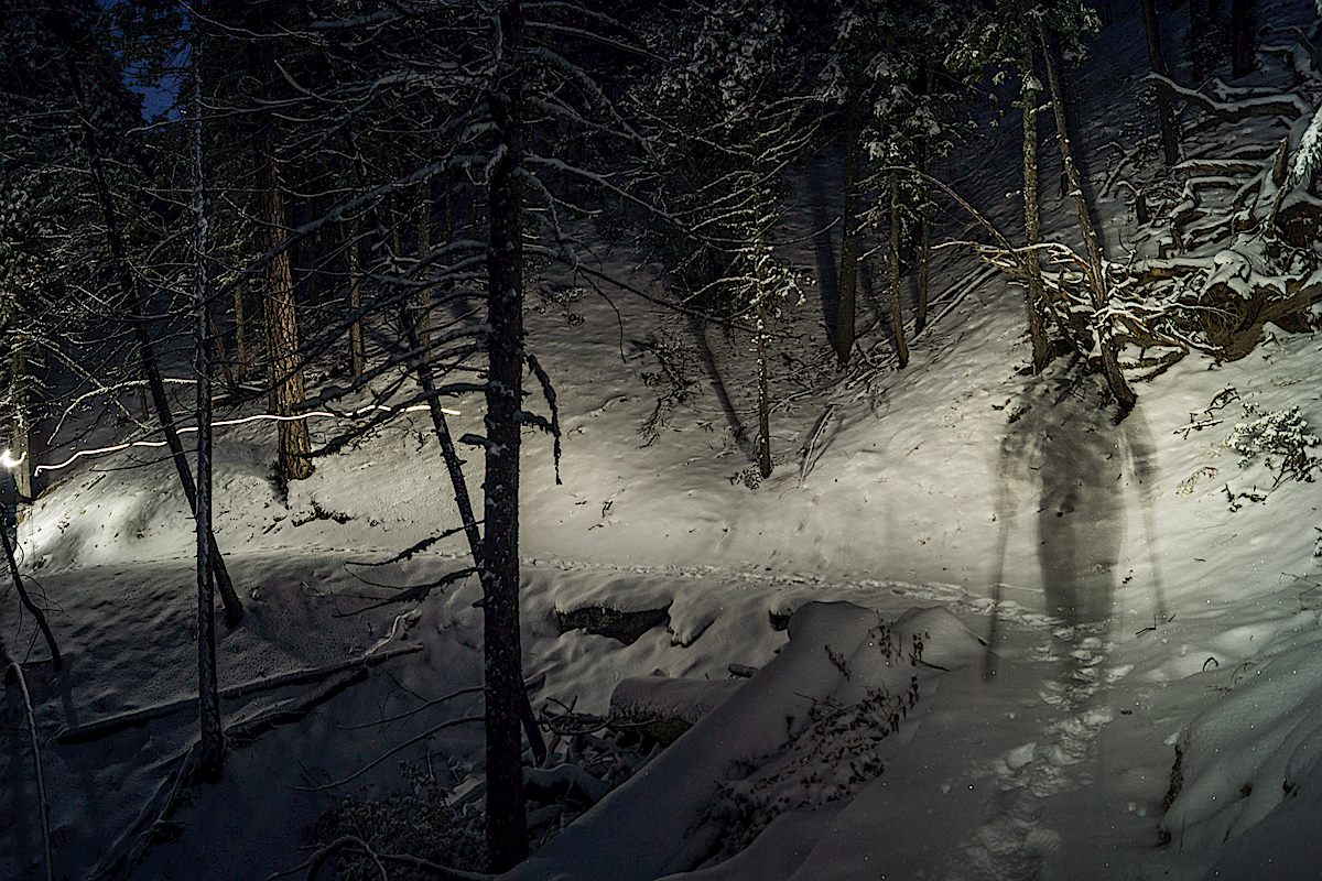 Night on the Green Mountain Trail. December 2013.