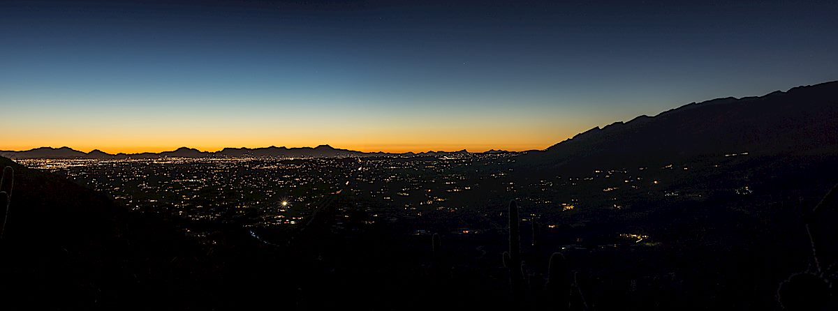Tucson city lights from the descent into Agua Caliente Wash. February 2015.