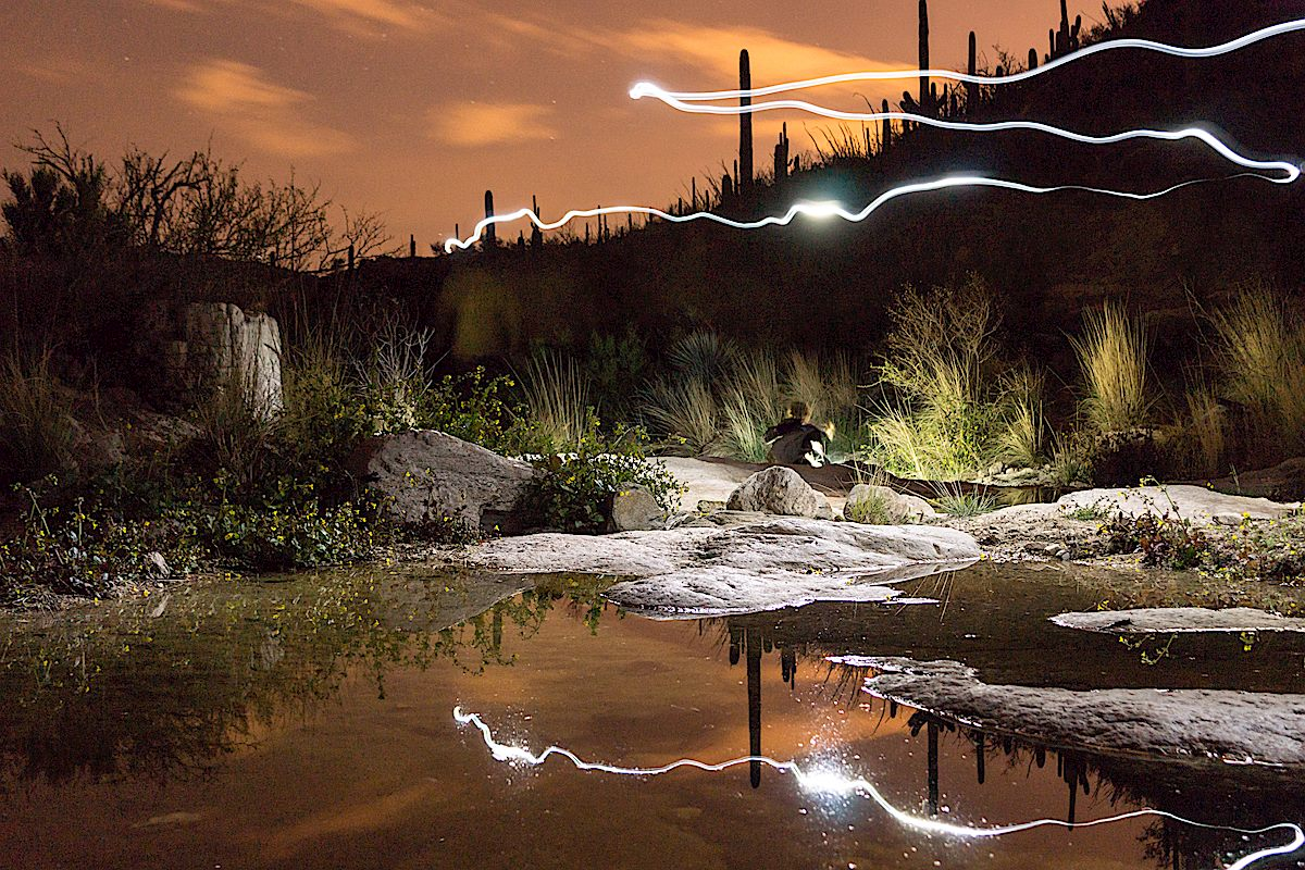 Enjoying the pools and the night on the La Milagrosa Trail at La Milagrosa Canyon crossing. March 2015.