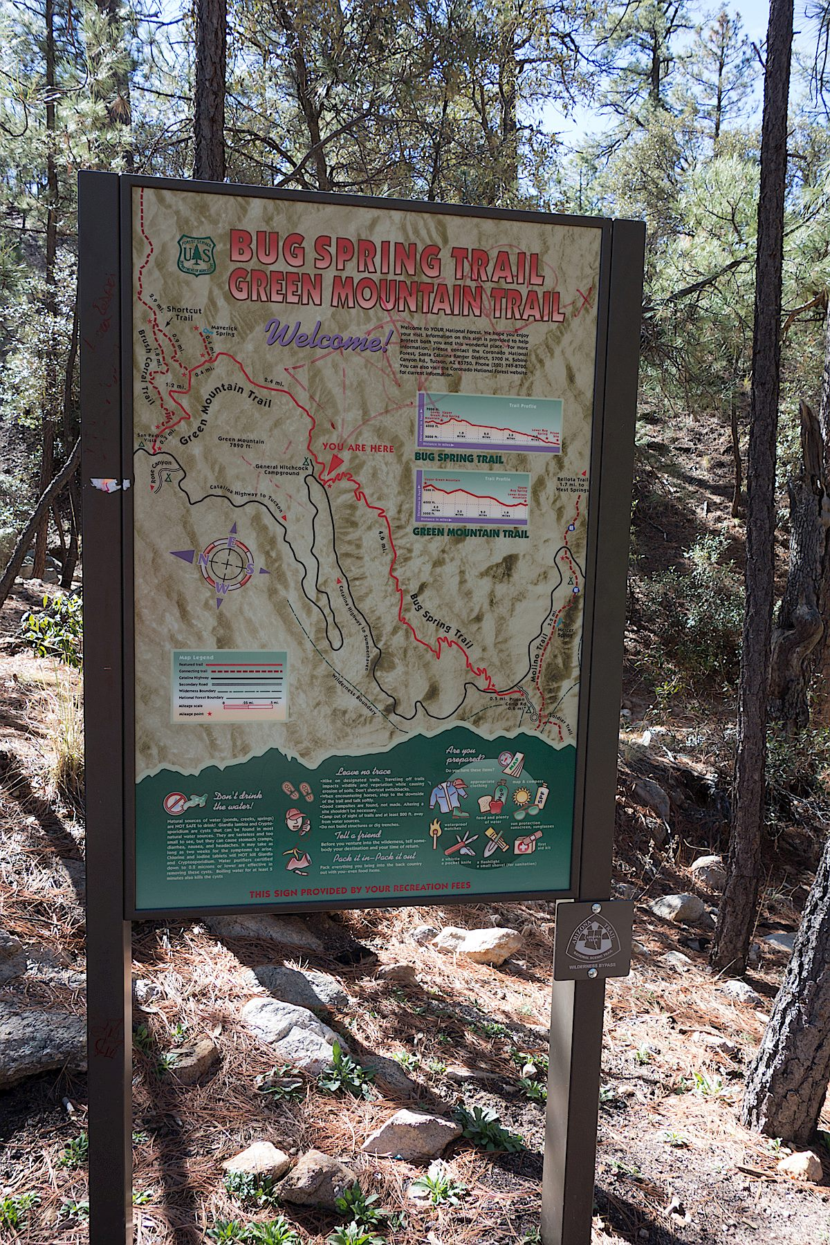 Trail map at the Lower Green Mountain Trailhead. March 2014.