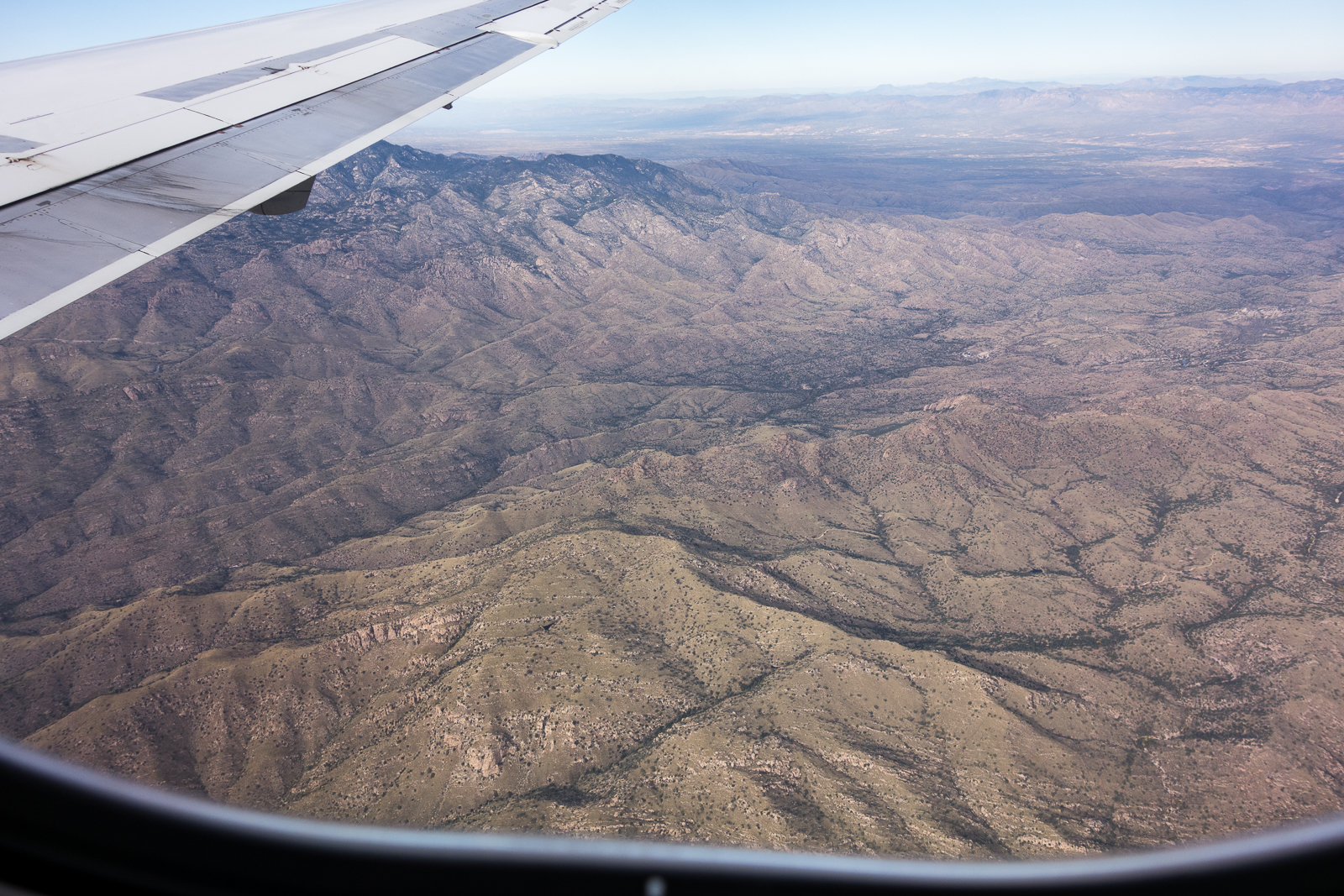 Looking down on Agua Caliente Hill on a flight coming into Tucson from DFW. November 2015.