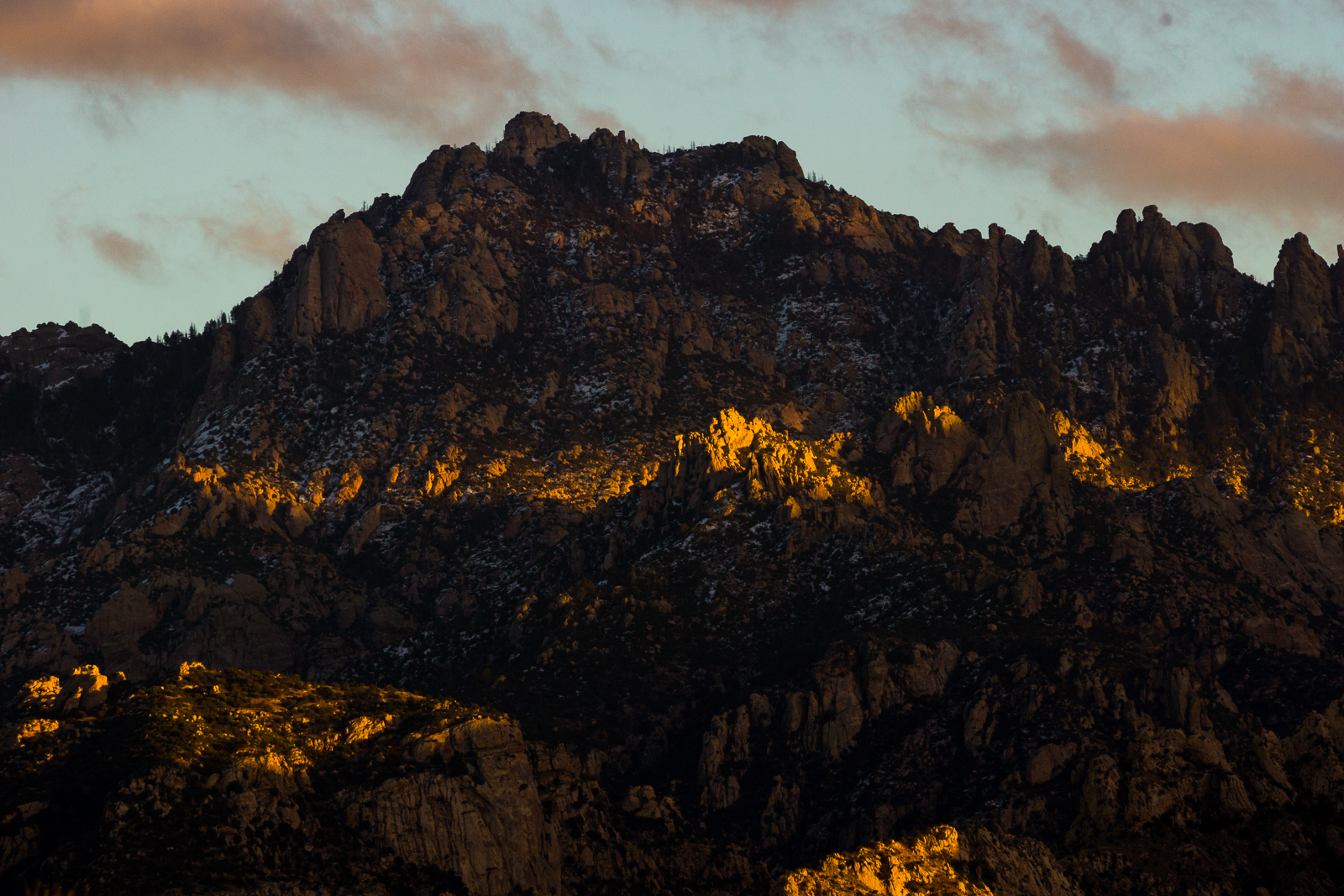 A ribbon of sunset light on the Santa Catalina Mountains. December 2015.