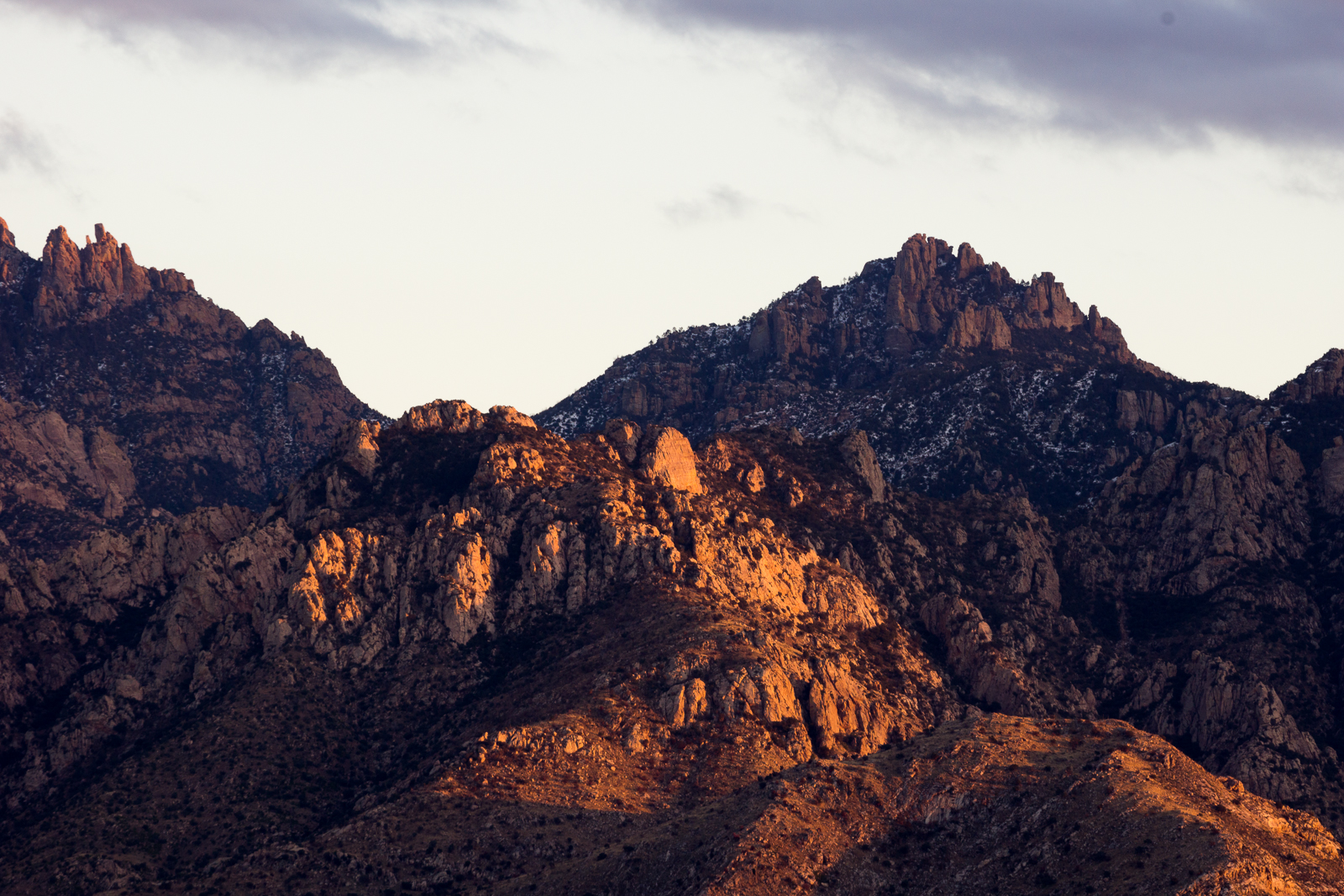 Sunset light on the west side of the Santa Catalina Mountains. December 2015.