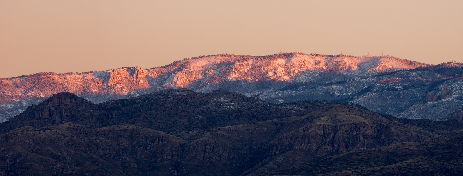 Subtle sunrise color on the Mount Lemmon Snow. December 2015.