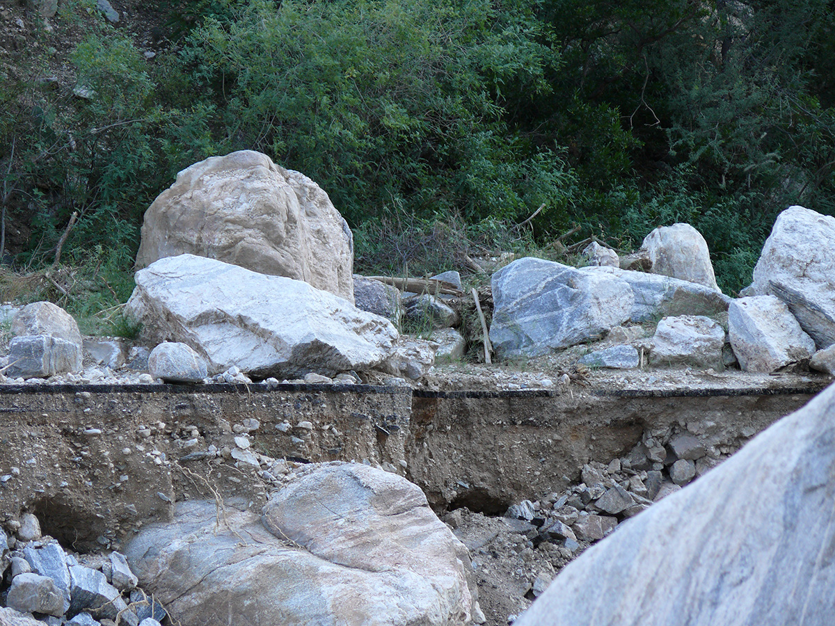 10 years ago - Boulders covering the Sabino Canyon Road. July 2006.