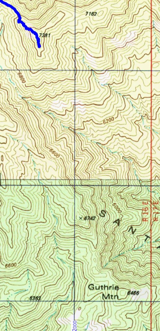 The two Guthrie Mountains - Point 7281 where the Guthrie Mountain Trail Ends and Point 6466 where Guthrie Mountain is labeled on the USGS Maps.