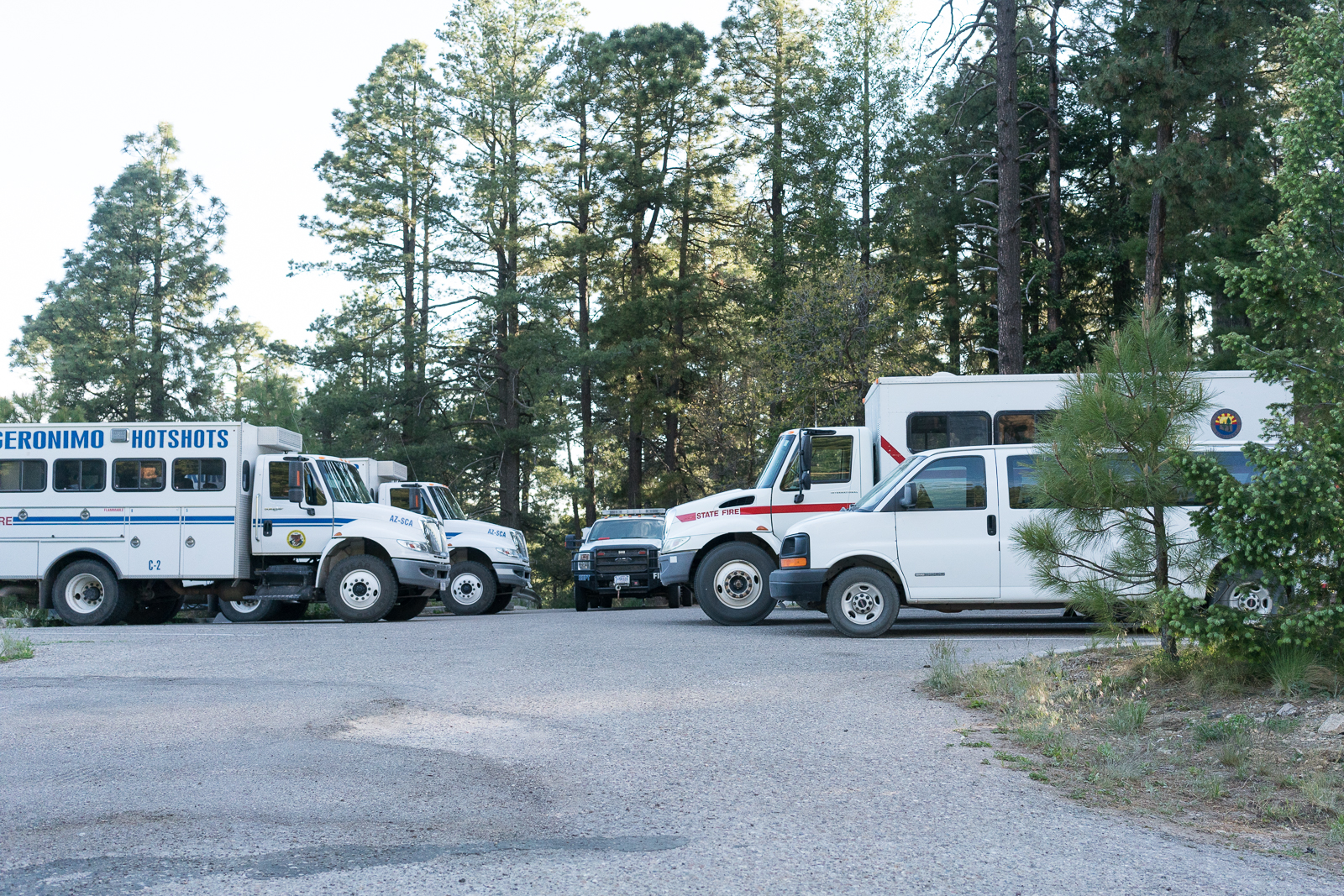 Fire Crew Vehicles at the Box Camp Trail for the Montrose Fire. May 2016.