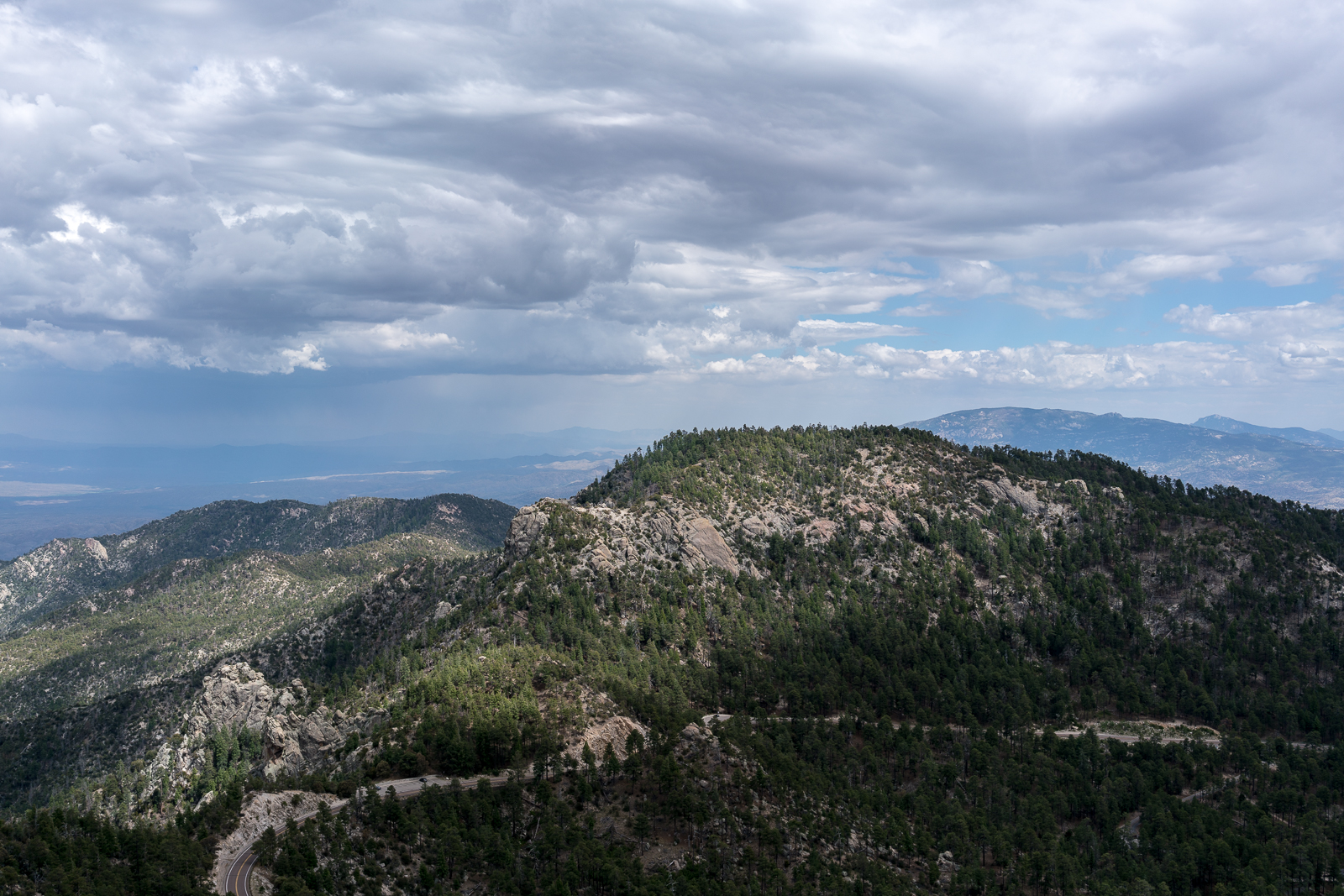 From Barnum Rock: Green Mountain - center, Guthrie Mountain - left, San Pedro Vista - lower left, Mica Mountain in the Rincon Mountains - right. May 2016.