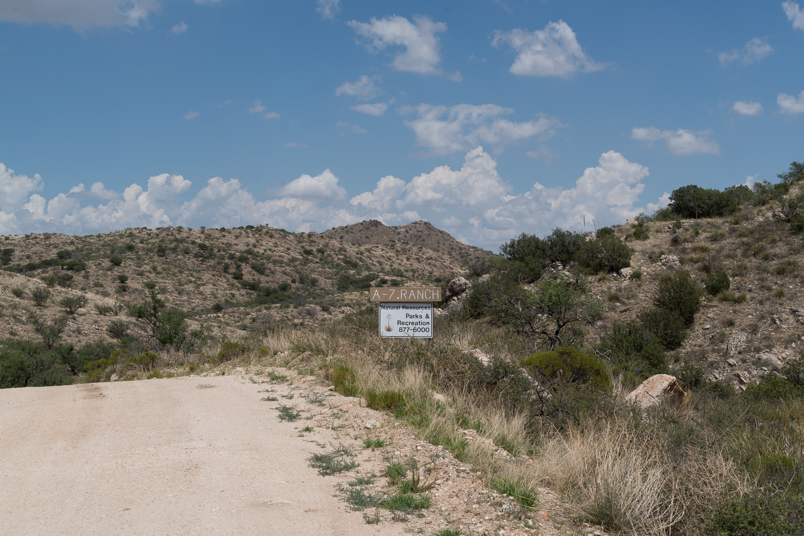 A sign on Redington Road marking the boundary of Pima County's A-7 Ranch. July 2016.