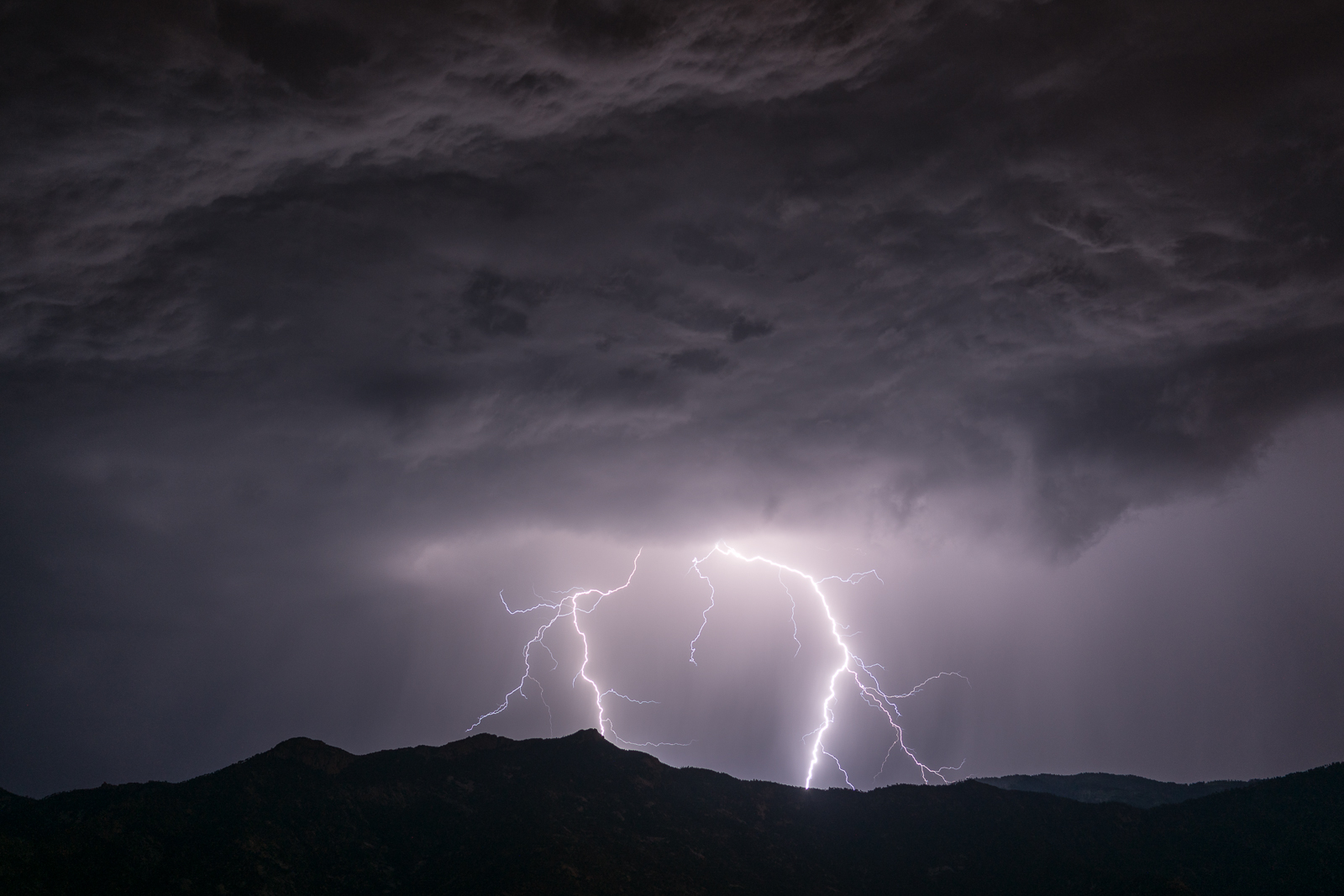 Lightning over Samaniego Ridge on the west side of the Santa Catalina Mountains - taken from the Golder Ranch area. July 2016.