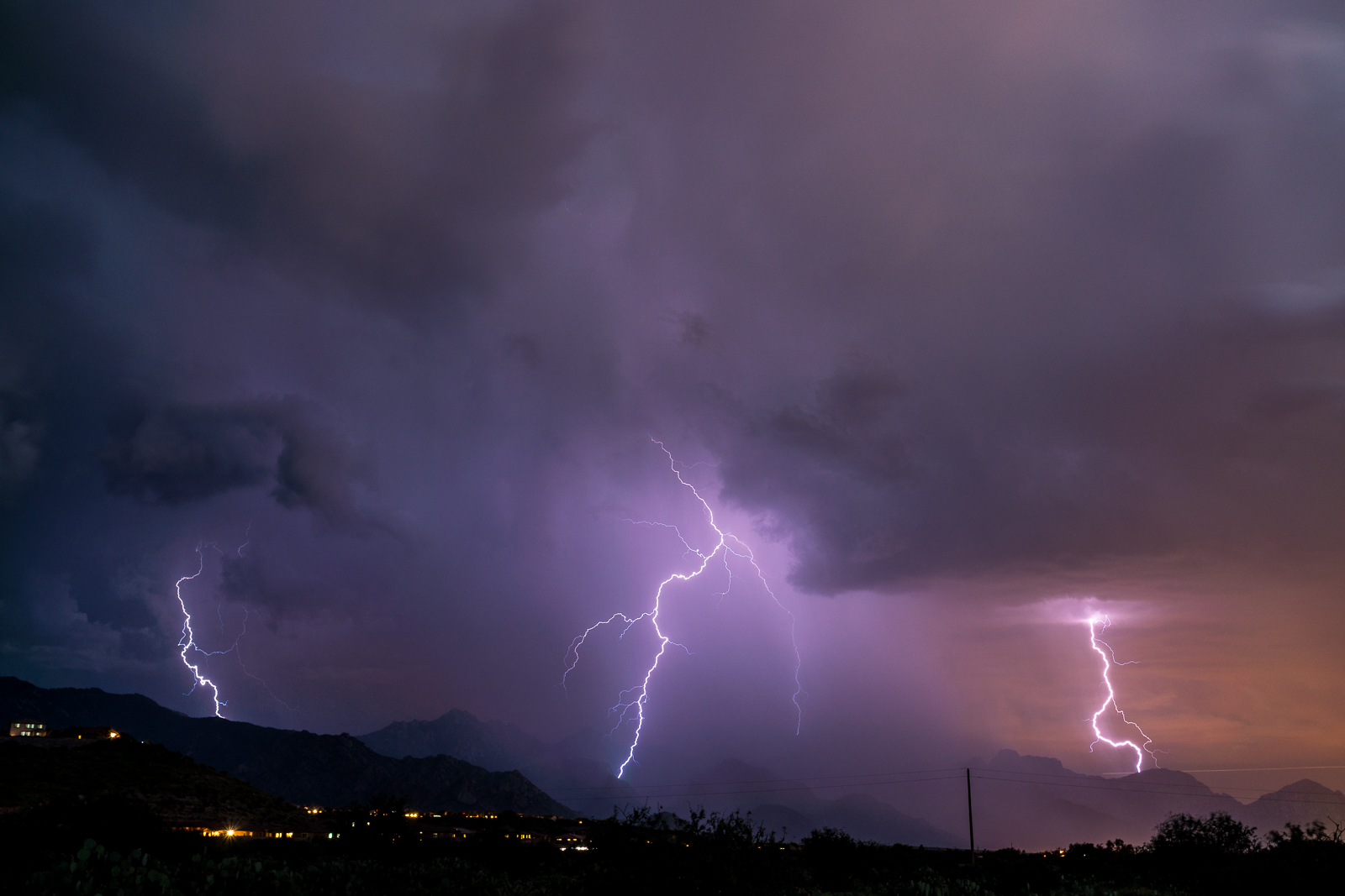 Lightning over the Santa Catalina Mountains. August 2016.
