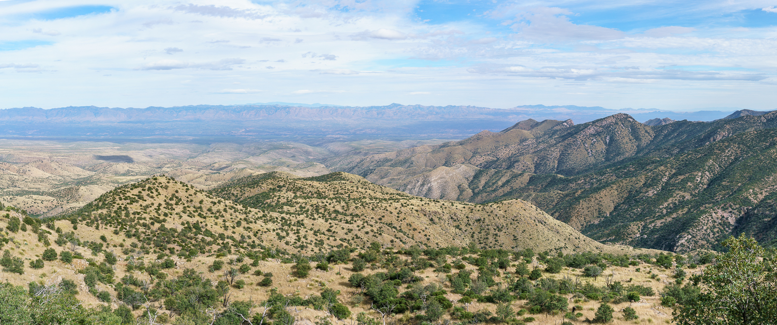 Looking down the mountain into the San Pedro River Valley from Lombar Hill - Alder Canyon and the ridge between Alder and Edgar Canyons are on the right - if you zoom in you can see Black Hills Mine Road and the road to Ventana Windmill descending into Alder Canyon. October 2016.