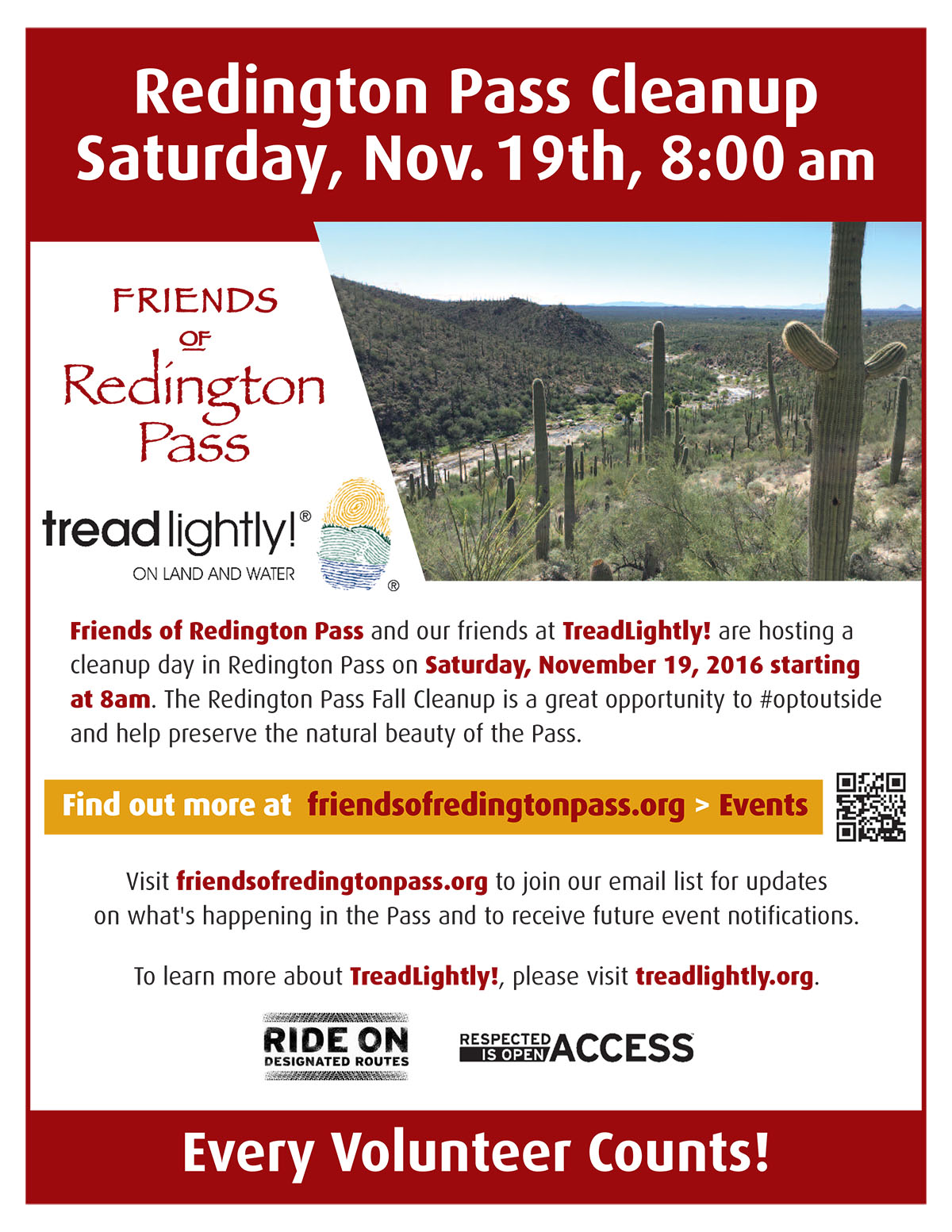Friends of Redington Pass - Flyer for the November 19, 2016, Cleanup. October 2016.