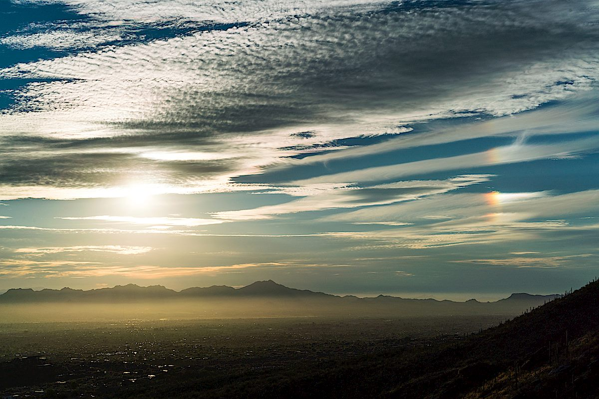 A sun dog to the right - looking over Tucson from the Pontatoc Canyon Trail. November 2017.