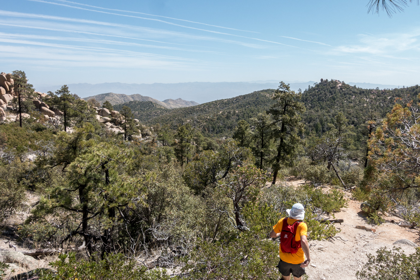 Running an upper section of the trail - the Brush Corral Trail is easy to follow and in decent shape down the junction with the Brush Corral Shortcut Trail. April 2017.