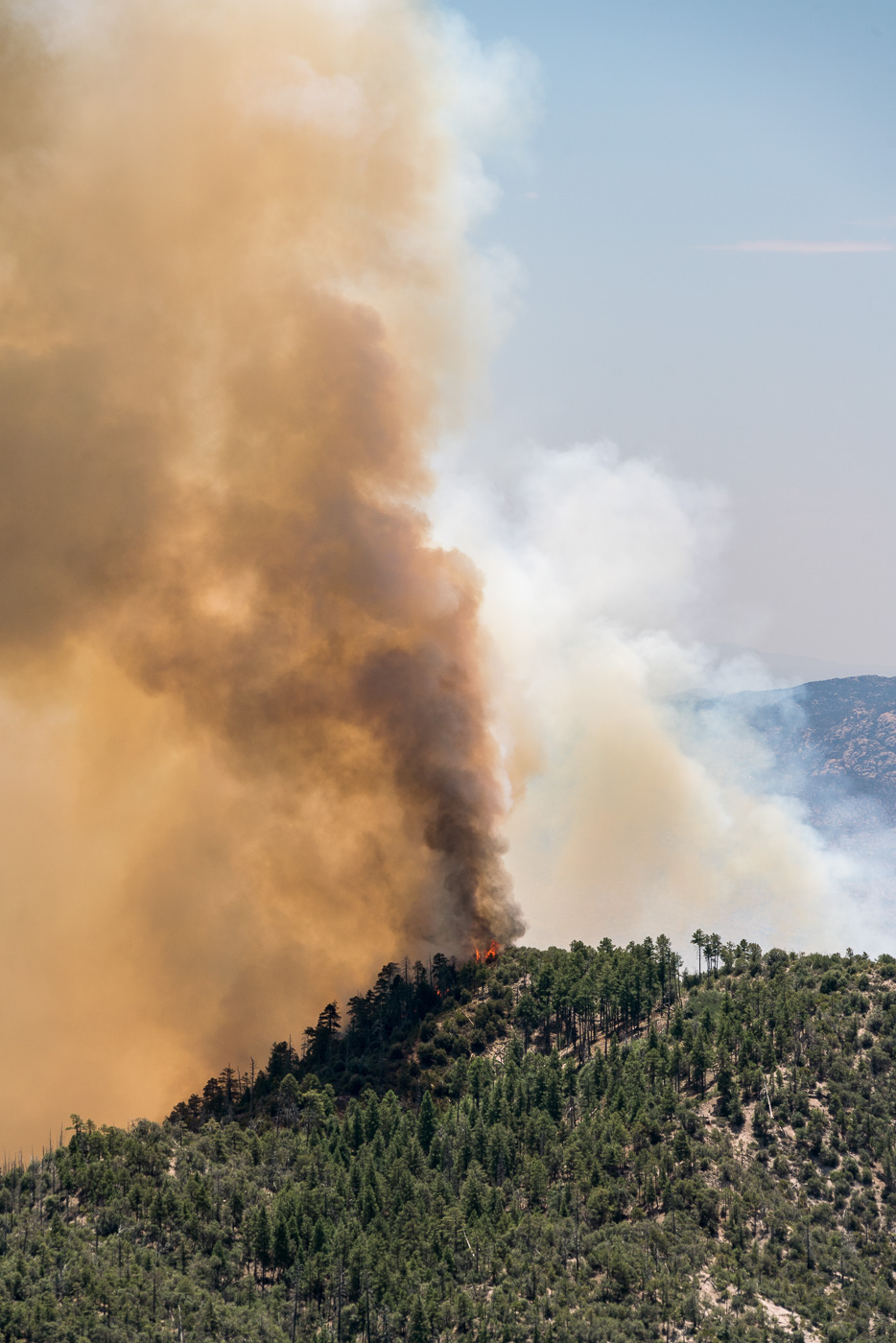 Smoke and flames from the Burro Fire. July 2017.