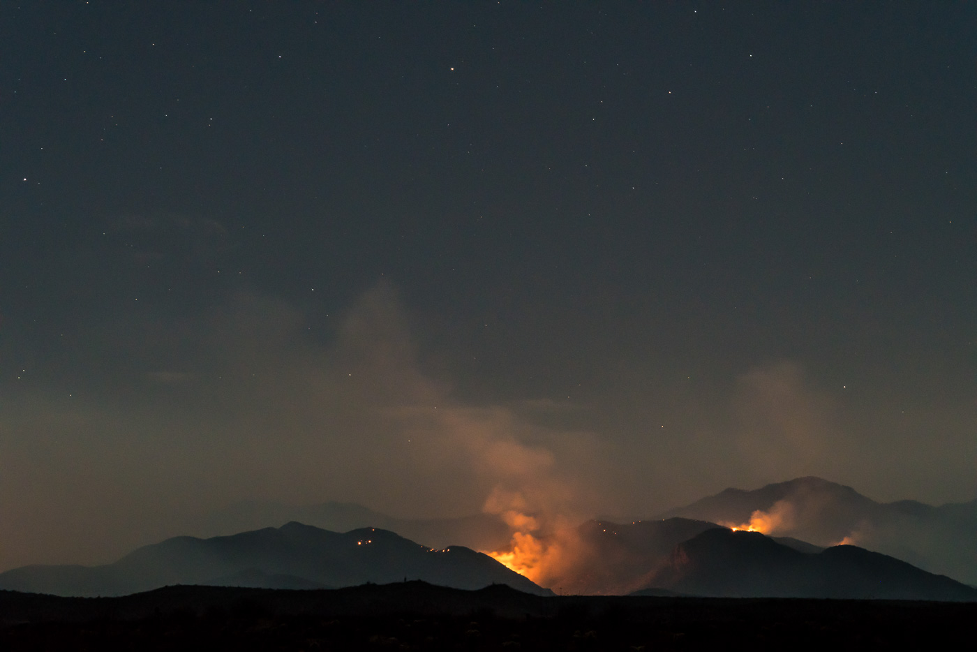 Burro Fire in the Evans Mountain Area with Green Mountain in the background - from Black Hills Mine Road. July 2017.