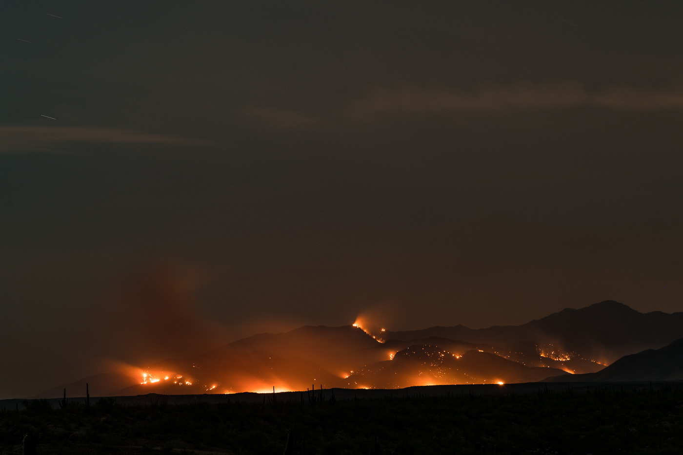 Evans Mountain and the slopes below burning in the Burro Fire on the night of the 5th. July 2017.