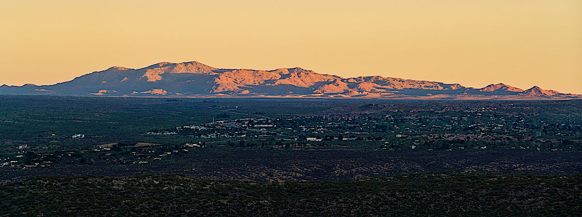 Black Mountain in the sunset light from the mouth of Dead Horse Canyon. December 2017.