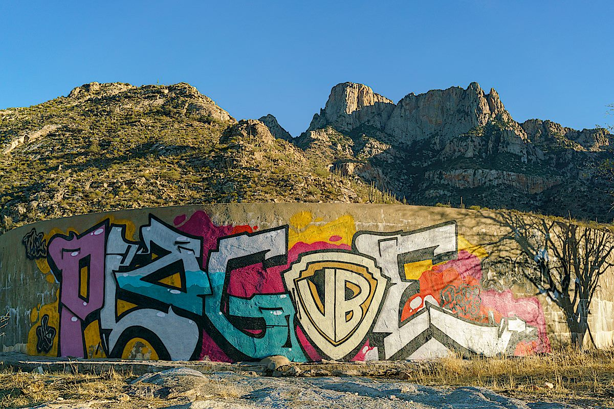 Graffiti covering Cottonwood Tank. December 2017.