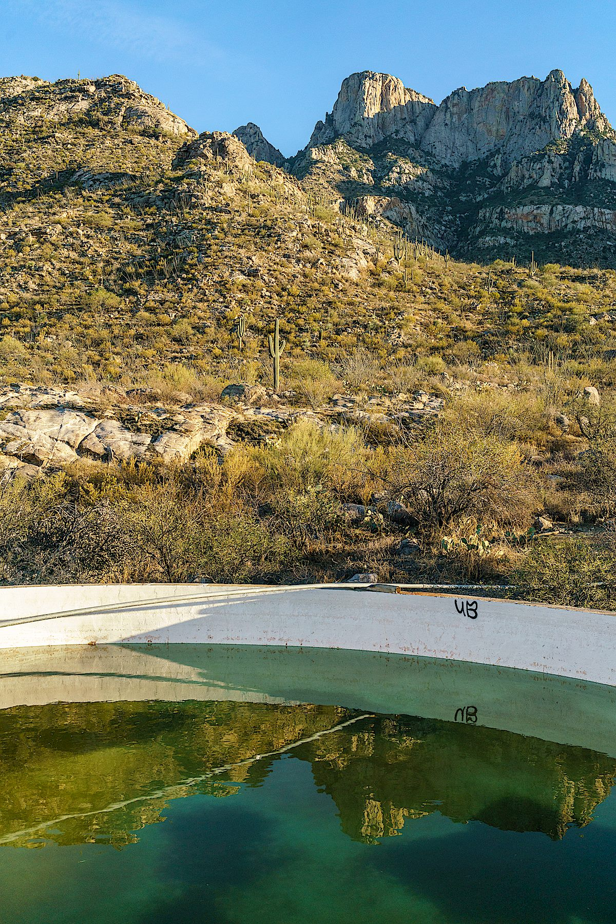 Water, reflection and Table Mountain - Cottonwood Tank. December 2017.