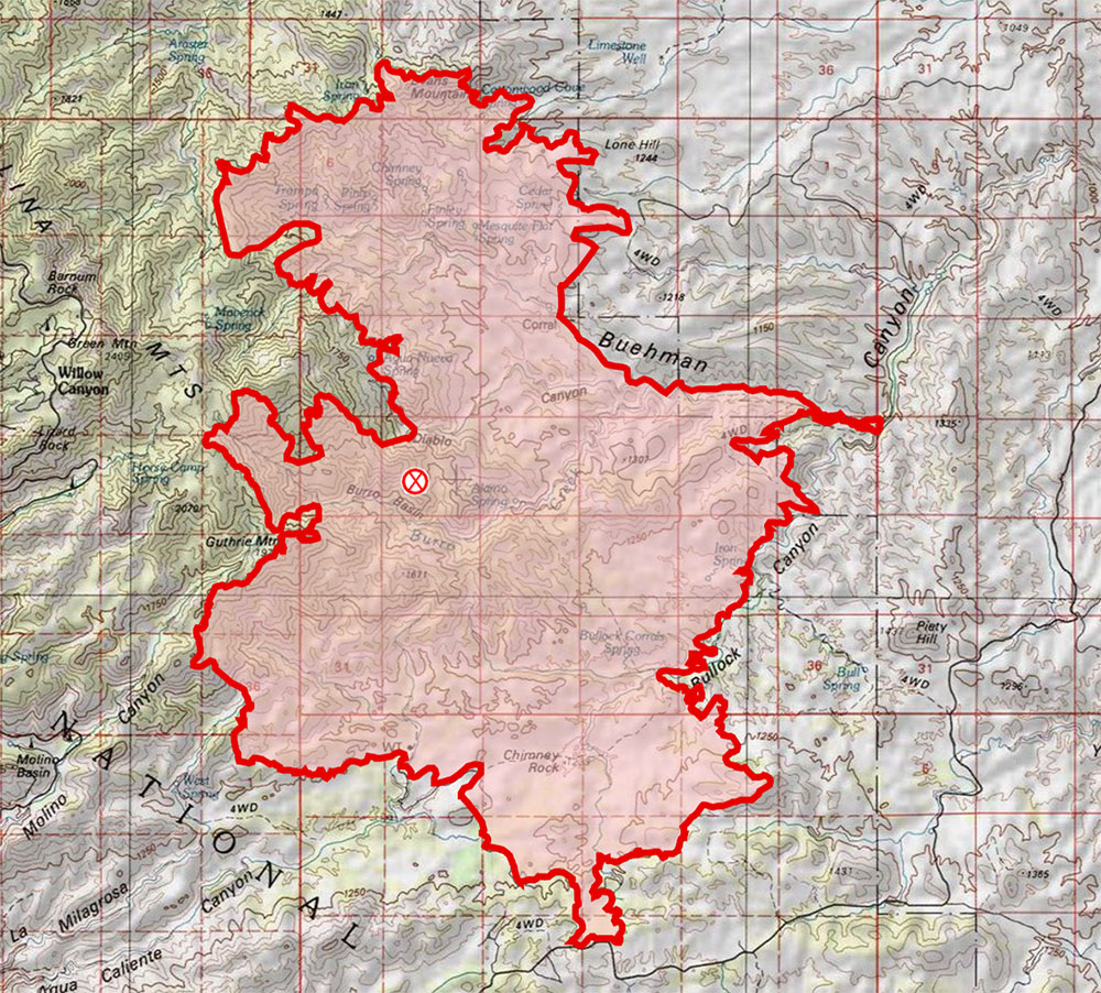 Burro Fire Topo Map from 7/4 7:25 AM. July 2017.