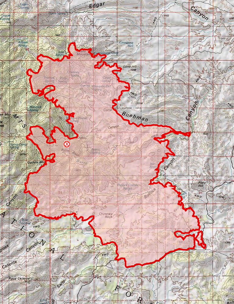 Burro Fire Map 7/5/2016. July 2017.