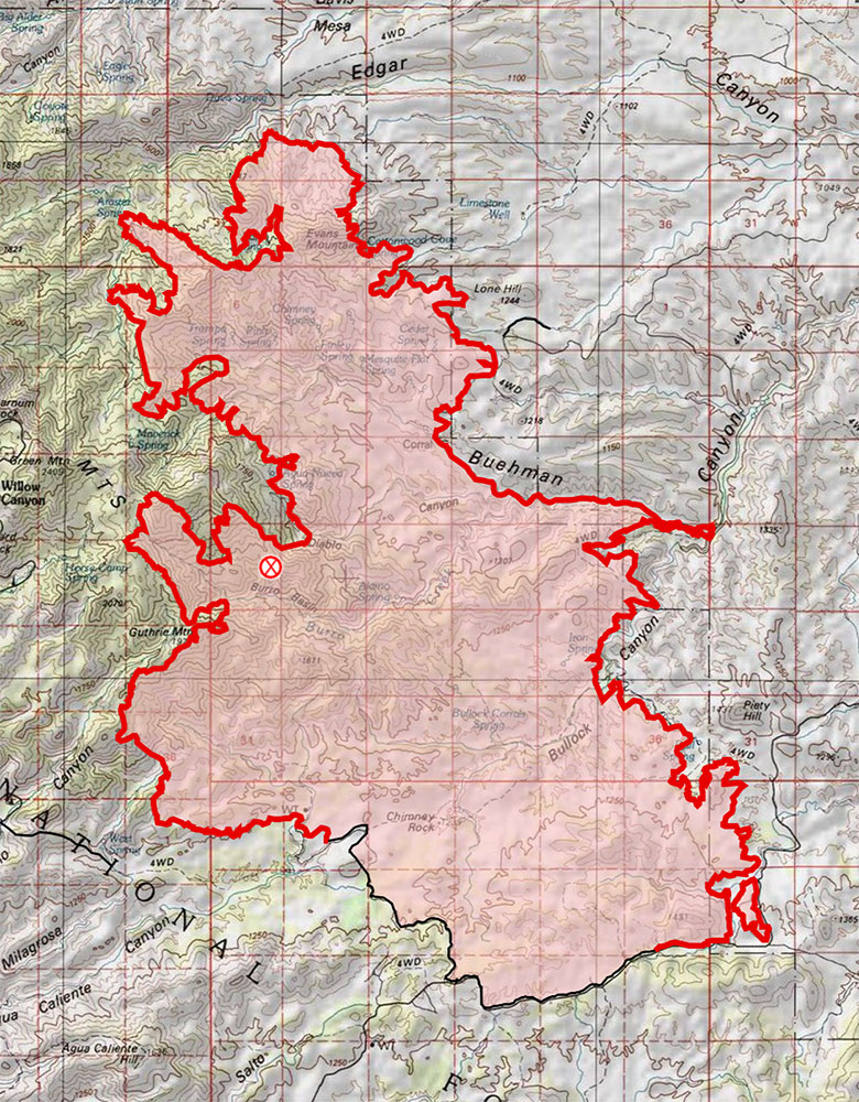 AM Map from July 5th - on the NE side the fire has burned down towards Edgar Canyon, on the south side there is now a significant stretch of fire line that is no longer marked as active. July 2017.