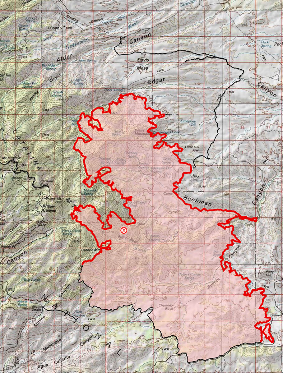 7/7/2017 6:50 AM - Burro Fire Map - compared to Thursday AM there has been growth in the Edgar Canyon/Peck Basin area and a substantial number of fire lines added. July 2017.
