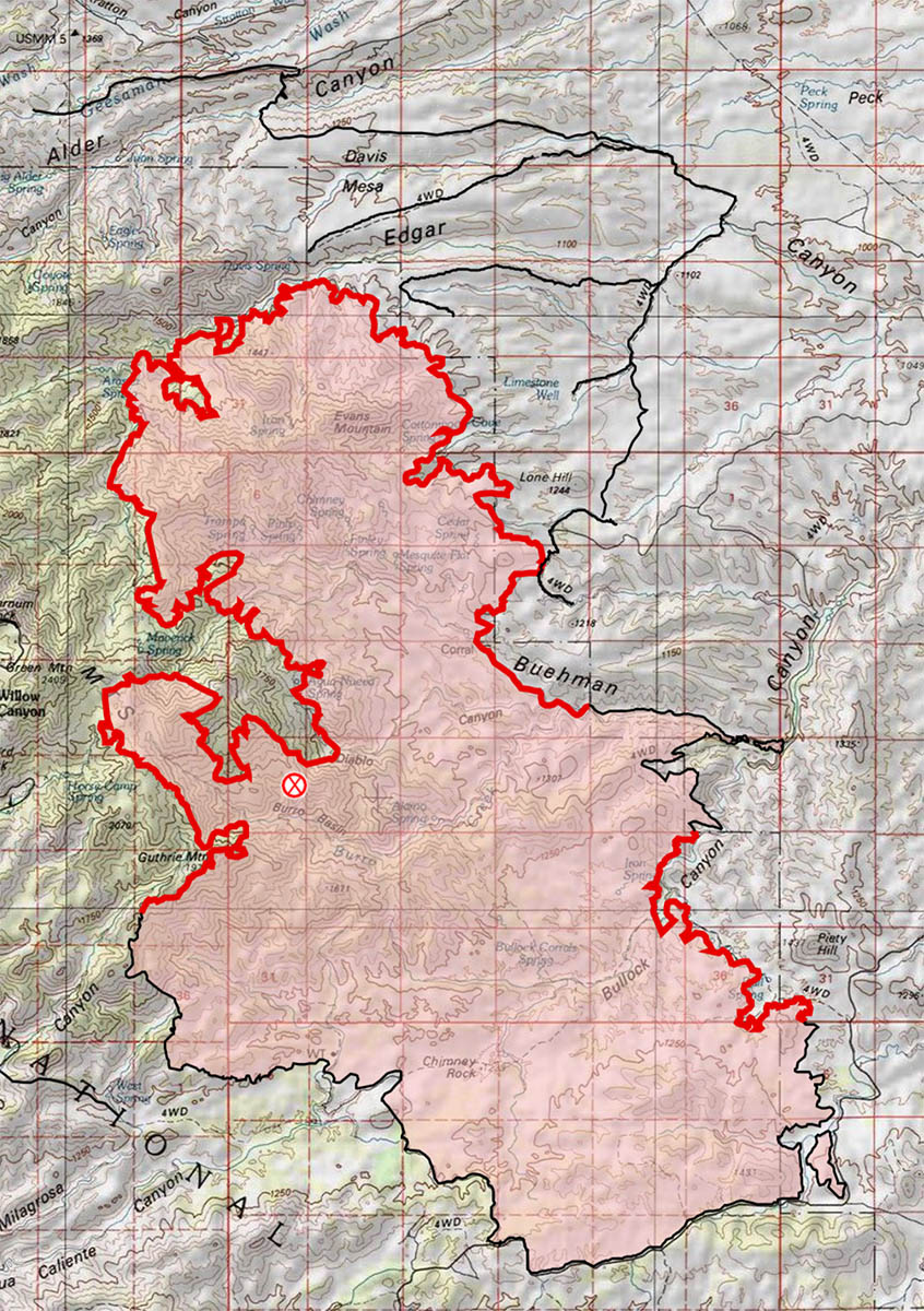 Burro Fire - 7/8 AM Map - compared to the 7/7 AM map there are additional fire lines on the north and east side of the fire with only modest additional areas burning on the north and west sides. July 2017.