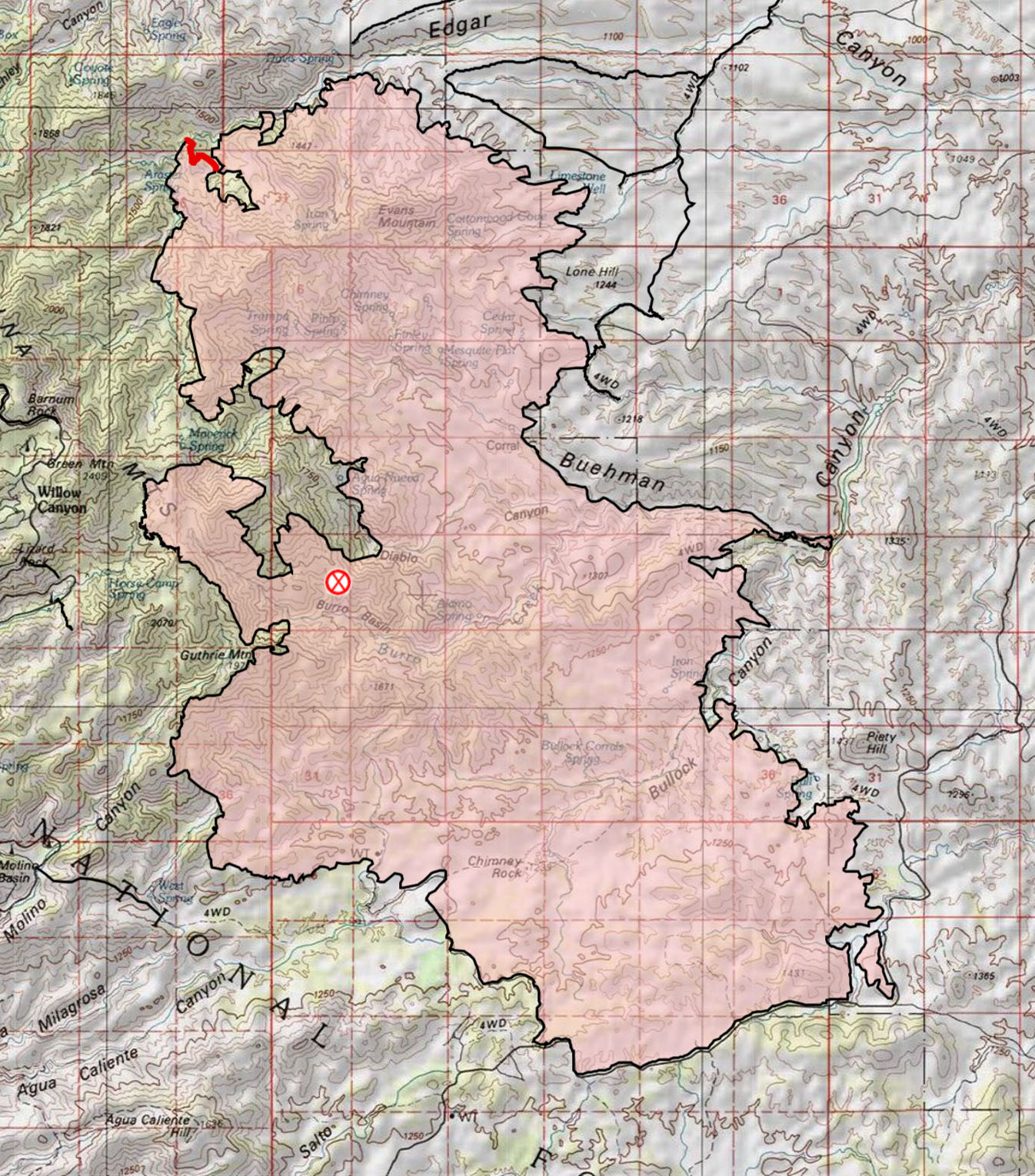 Burro Fire Topo Map - Final Update. July 2017.