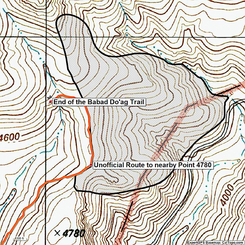 The April 2017 Molino Fire perimeter in Black - the Babad Do'ag Trail is shown in red. August 2017.