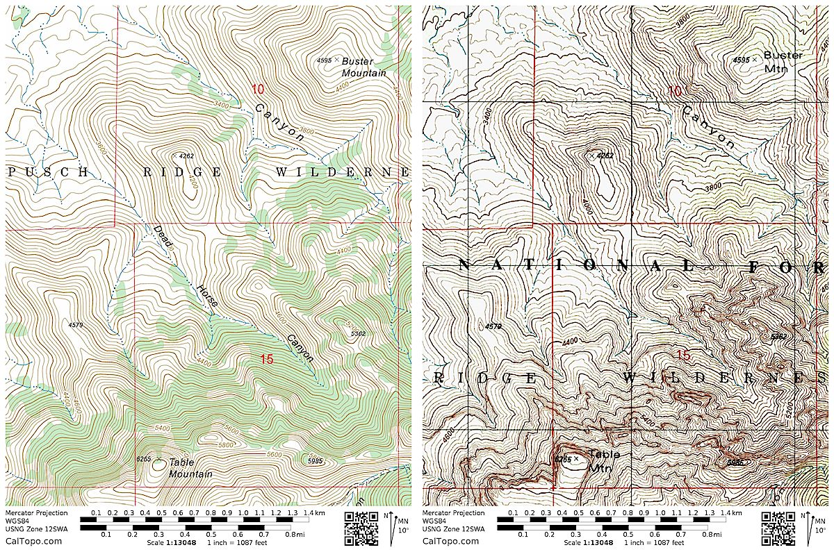 The USFS's FSTopo map on the left with Dead Horse Canyon labeled - the USGS Topo on the right without Dead Horse Canyon labeled. January 2018.