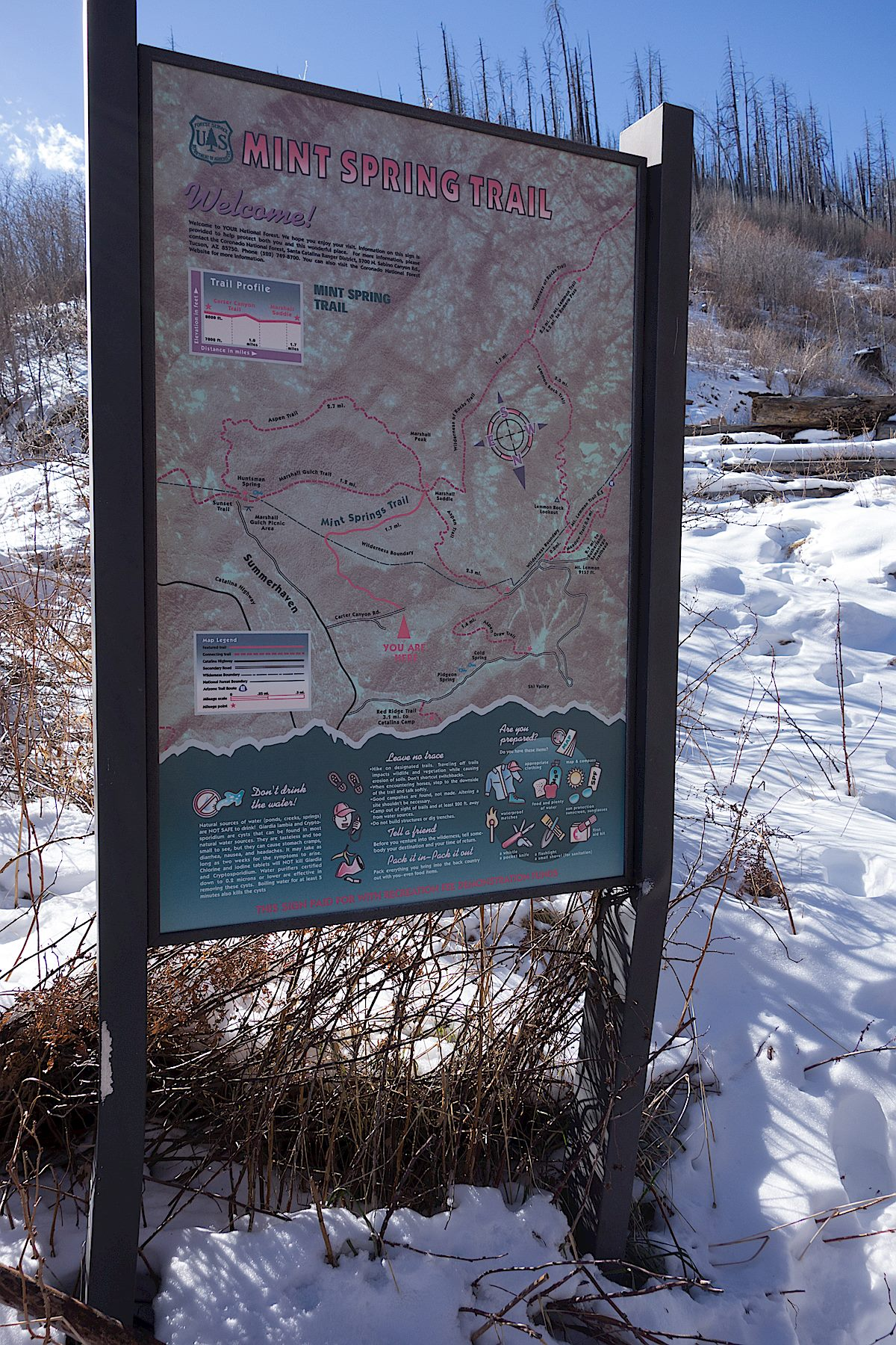 Small trail sign near the start of the trail. April 2014.