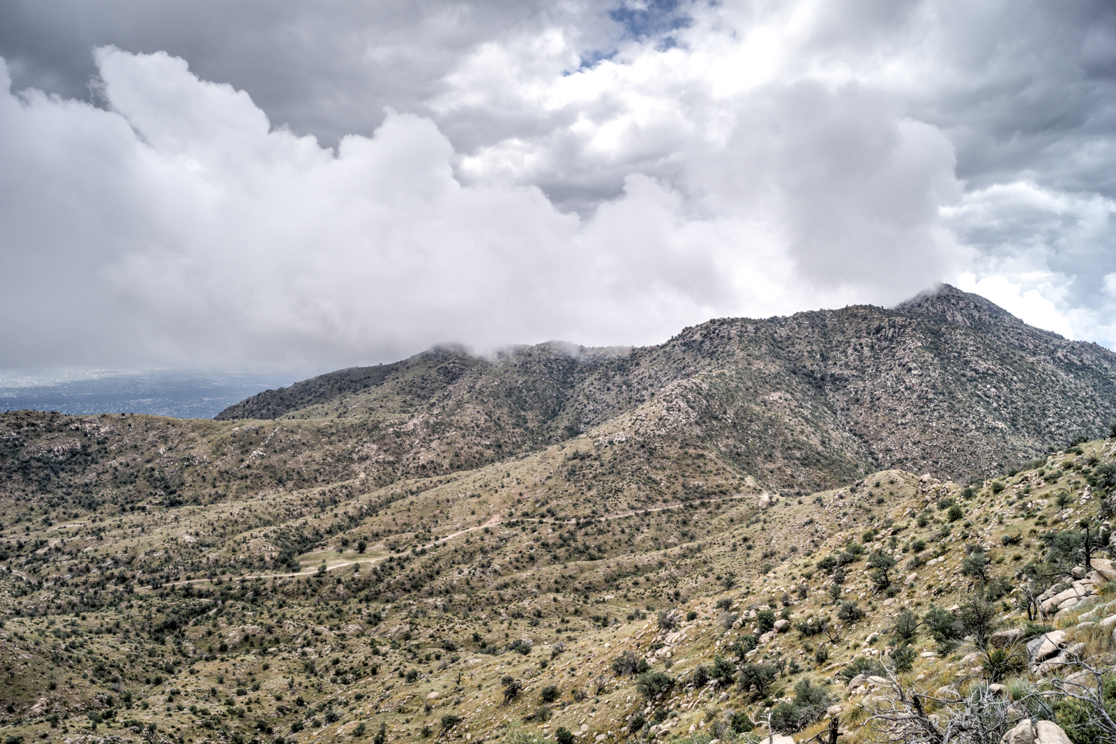 Storm over the Molino Basin Trail and Shreve Saddle. October 2014.