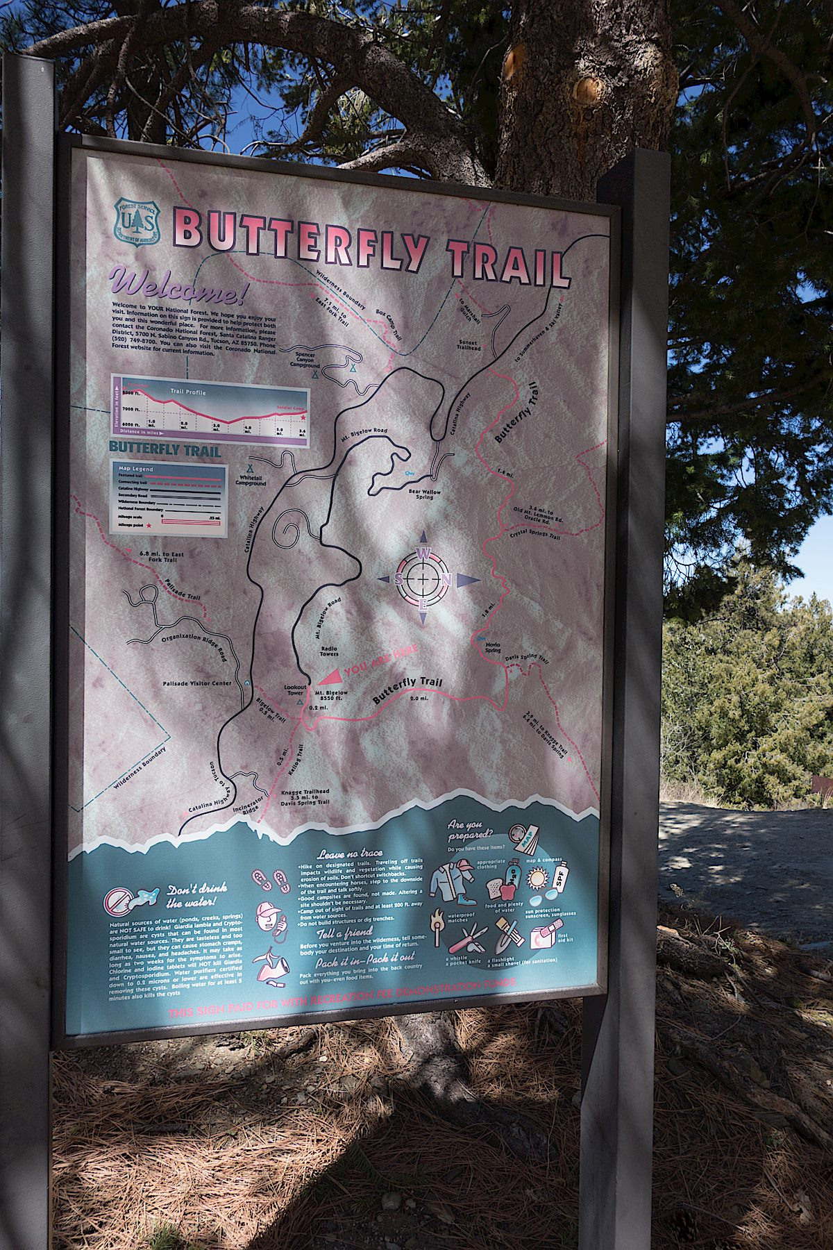 Large trailhead sign for the Butterfly Trail near the dirt parking area. April 2014.