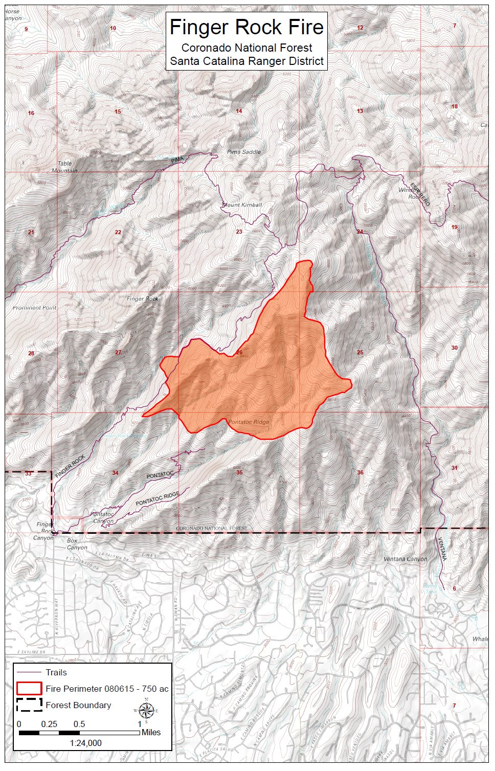 Finger Rock Fire Map posted on Facebook by the Coronado National Forest on 8/6/2015.