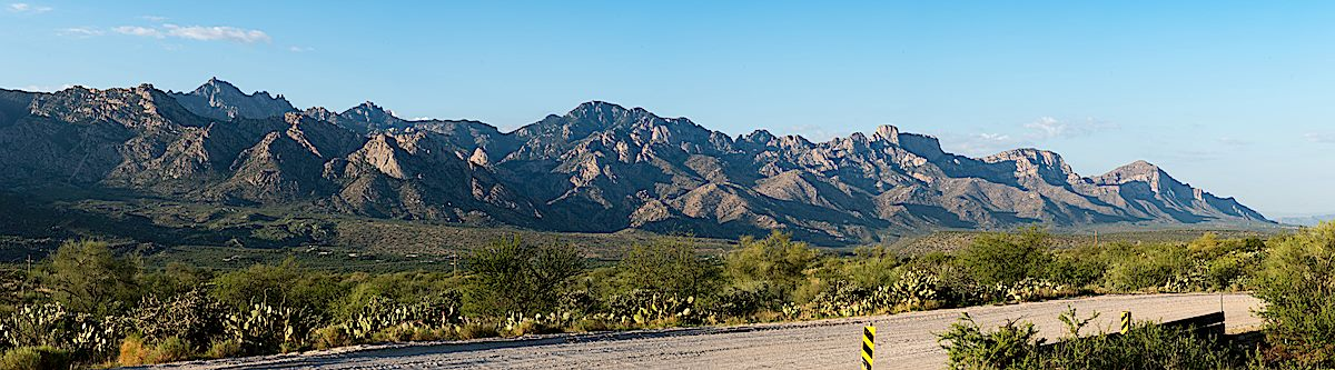 The west side of the Pusch Ridge Wilderness and the Santa Catalina Mountains from the Golder Ranch Area. July 2016.