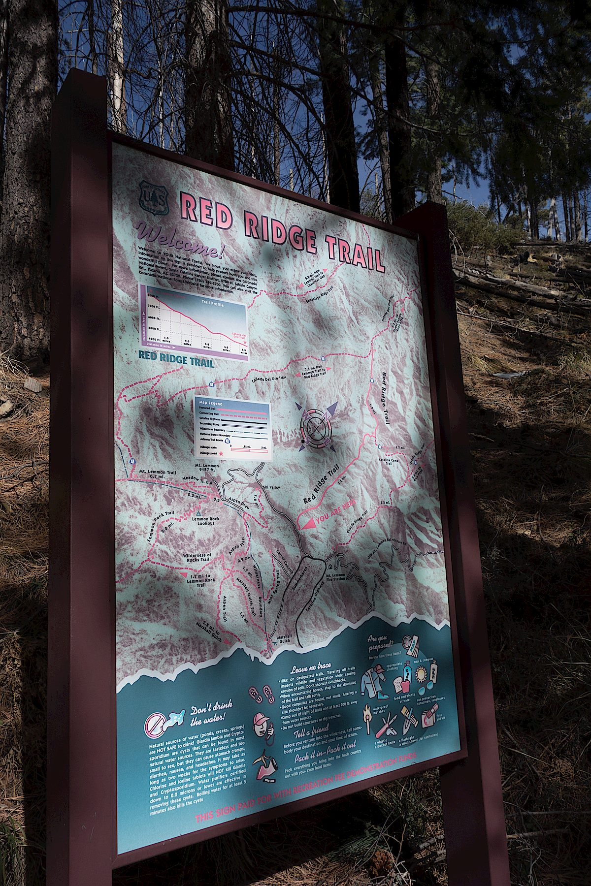 Red Ridge Trail Map sign. December 2013.